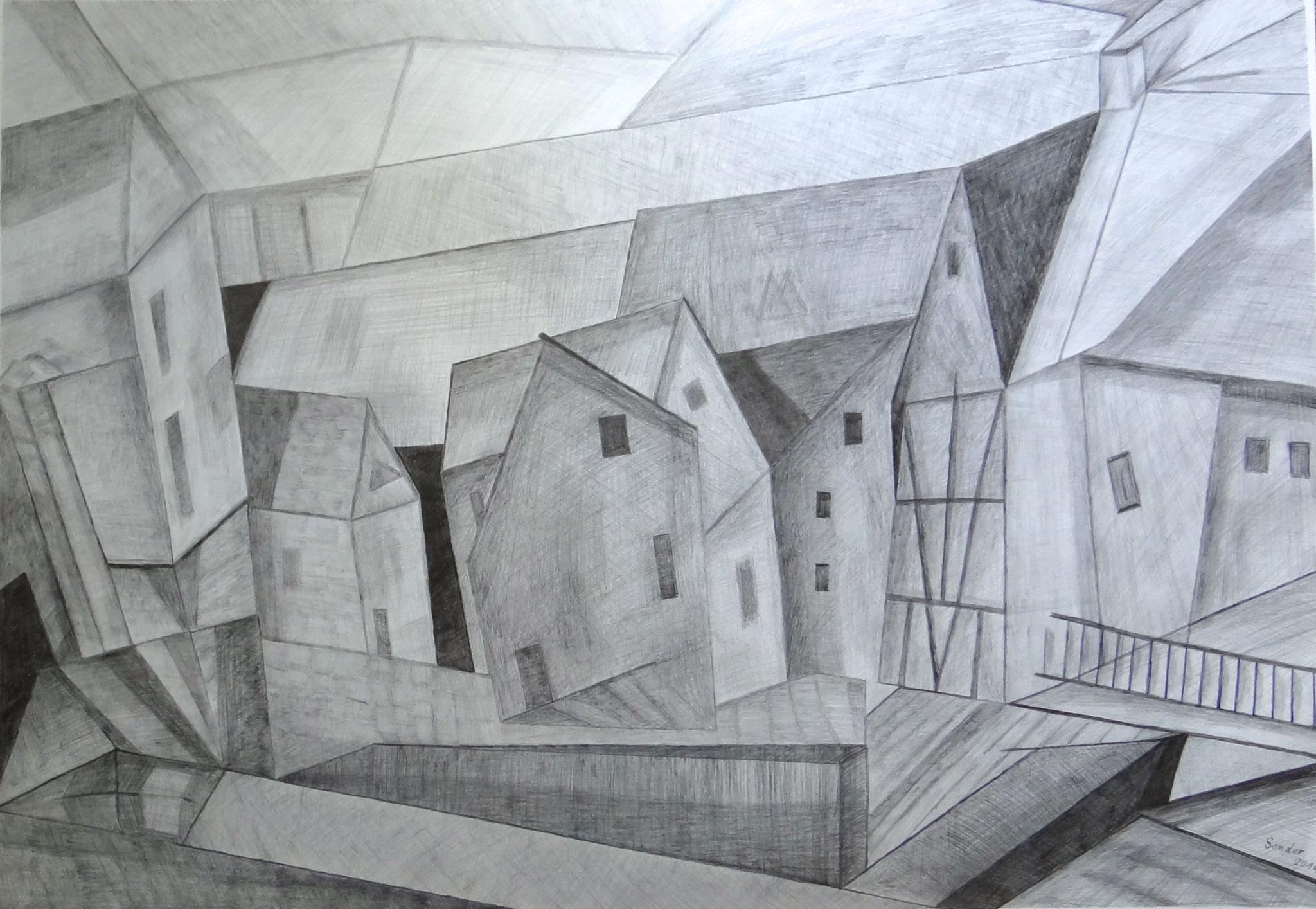 Häuser, 100 x 70 cm, Bleistiftzeichnung auf Papier, signiert und datiert 2014