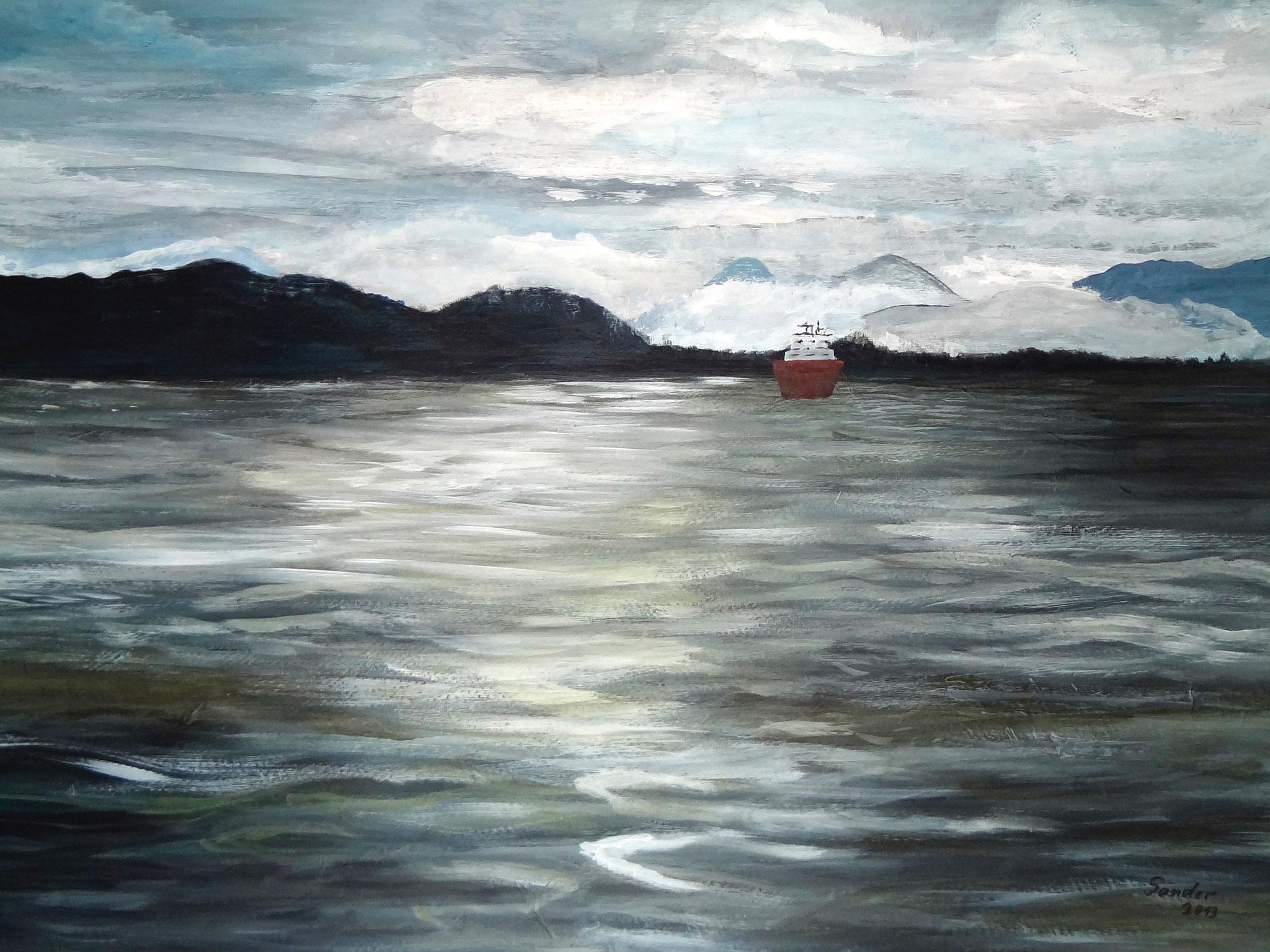Alaska 2,  70 x 50 cm, Acrylfarben auf Papier, signiert und datiert 2013