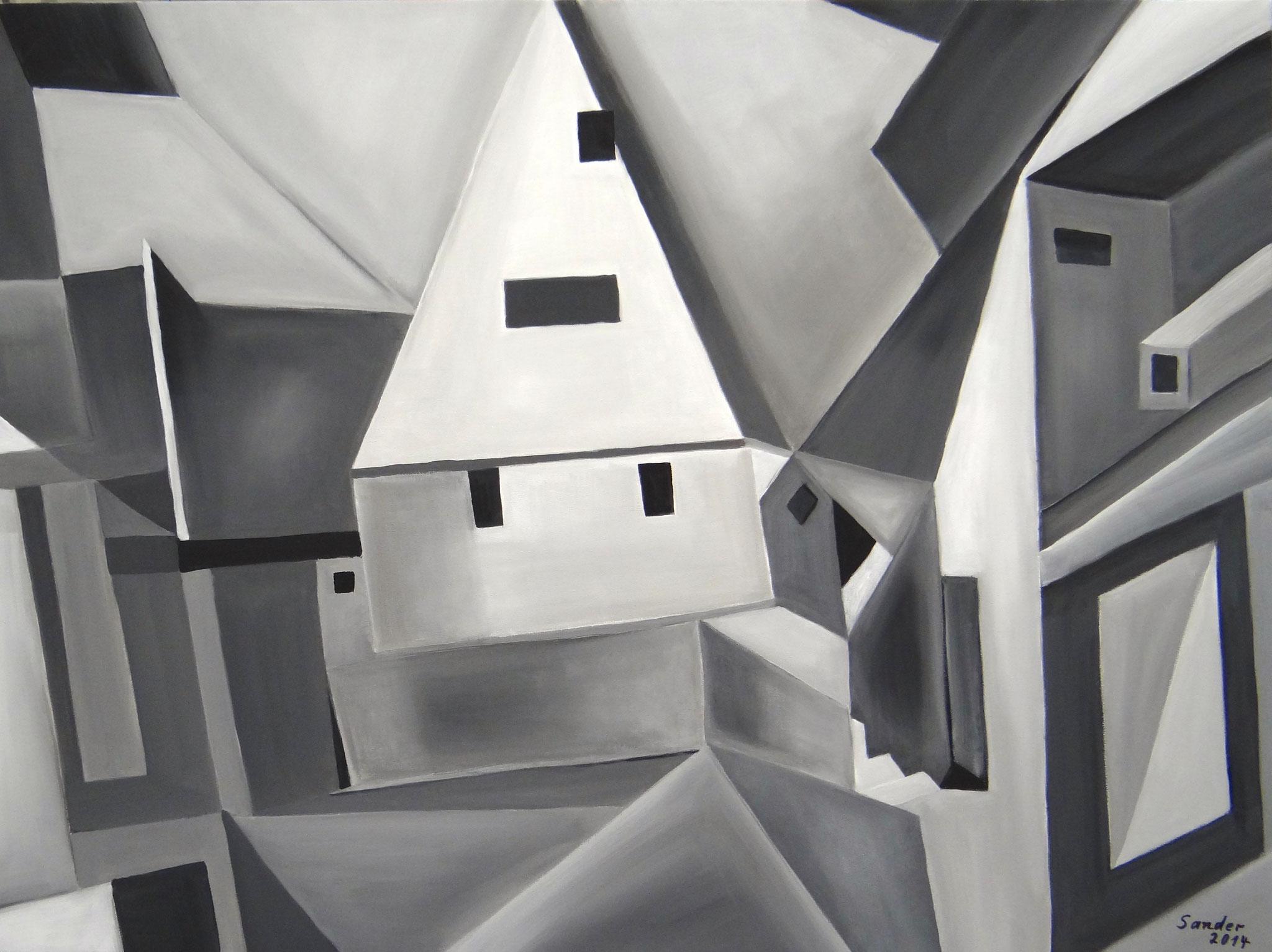 graue Stadt, 80 x 60 cm, Acrylfarben auf Keilrahmen, signiert und datiert 2014