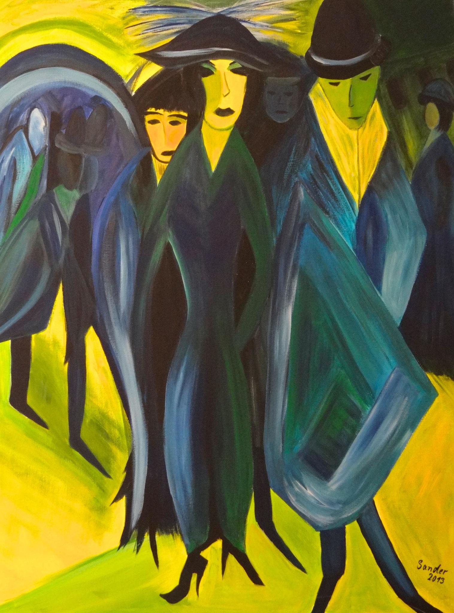 nach Kirchner 2, 80 x 60 cm, Acrylfarben auf Keilrahmen, signiert und datiert 2013