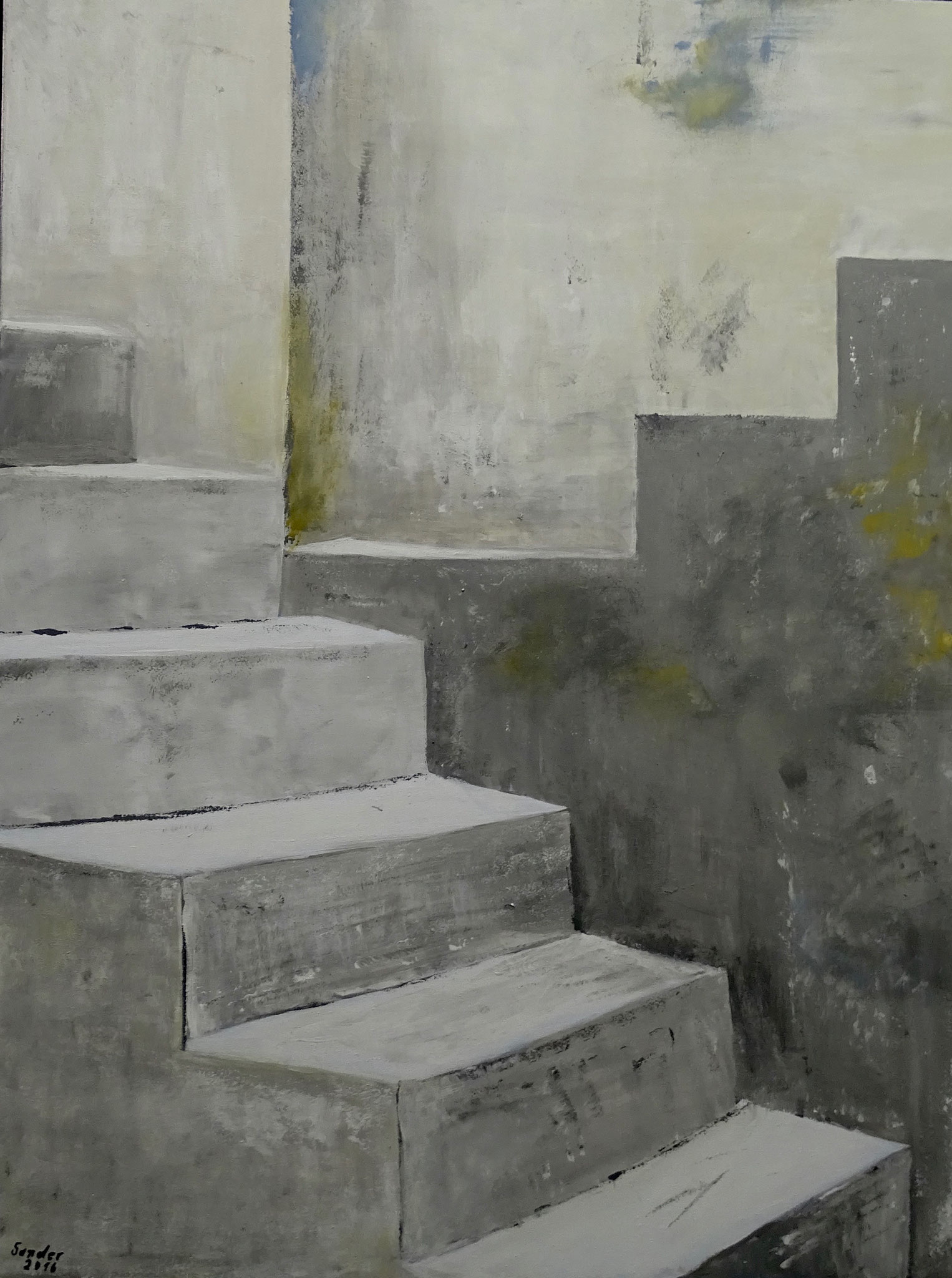 Stufen, 80 x 60 cm, Acrylfarben auf Keilrahmen, signiert und datiert 2016