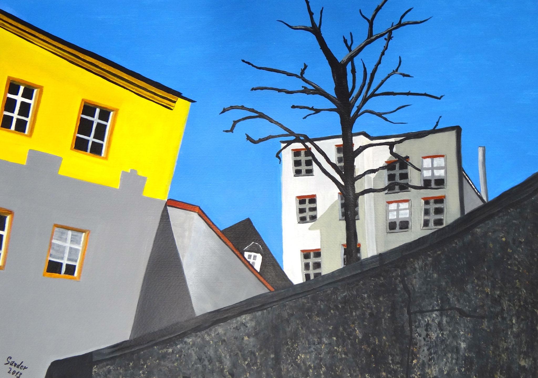 Wintertag in Passau, 70 x 50 cm, Acrylfarben auf Papier, signiert und datiert 2013