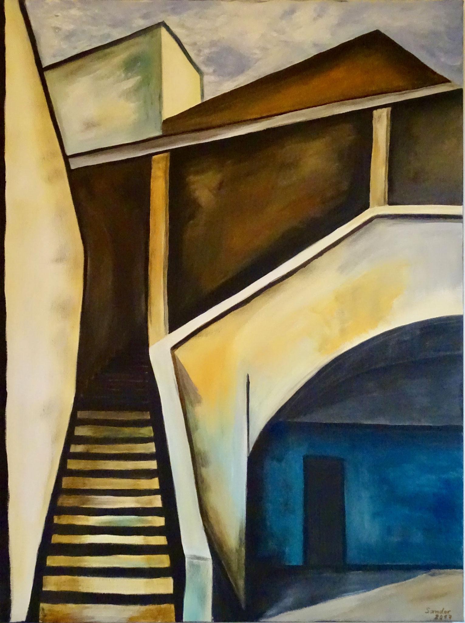 Innenhof, 80 x 60 cm, Acrylfarben auf Keilrahmen, signiert und datiert 2017