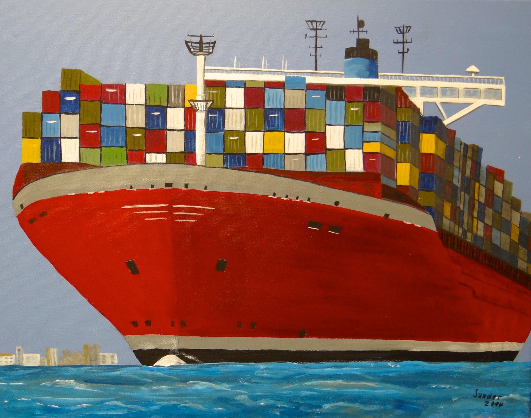 Containerschiff 2 - 50 x 40 cm, Acrylfarben auf Keilrahmen, signiert und datiert 2014