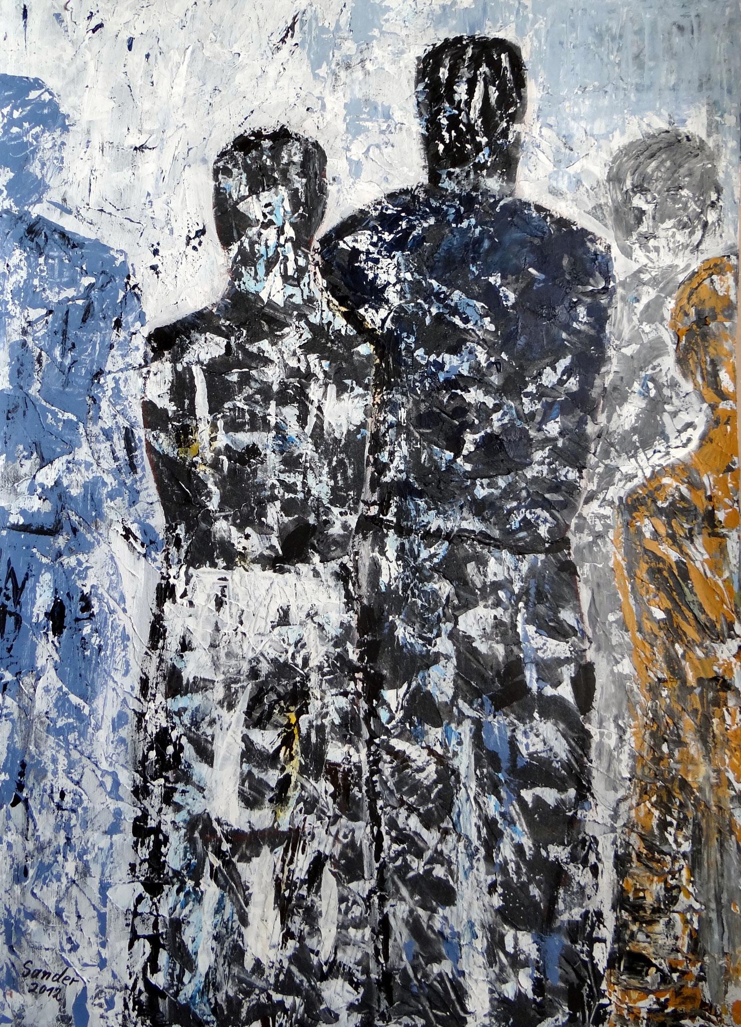 Gruppe 2, 70 x 50 cm, Acrylfarben auf Papier, signiert und datiert 2012