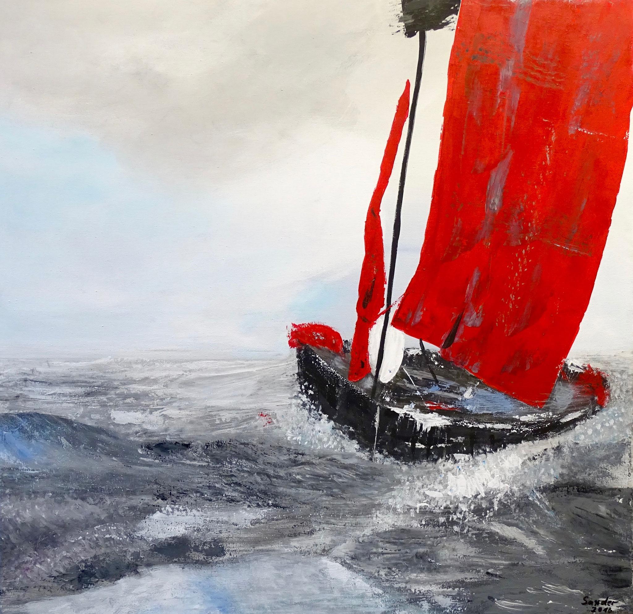 Schiffbruch, 60 x 60 cm, Acrylfarben auf Keilrahmen, signiert und datiert 2016