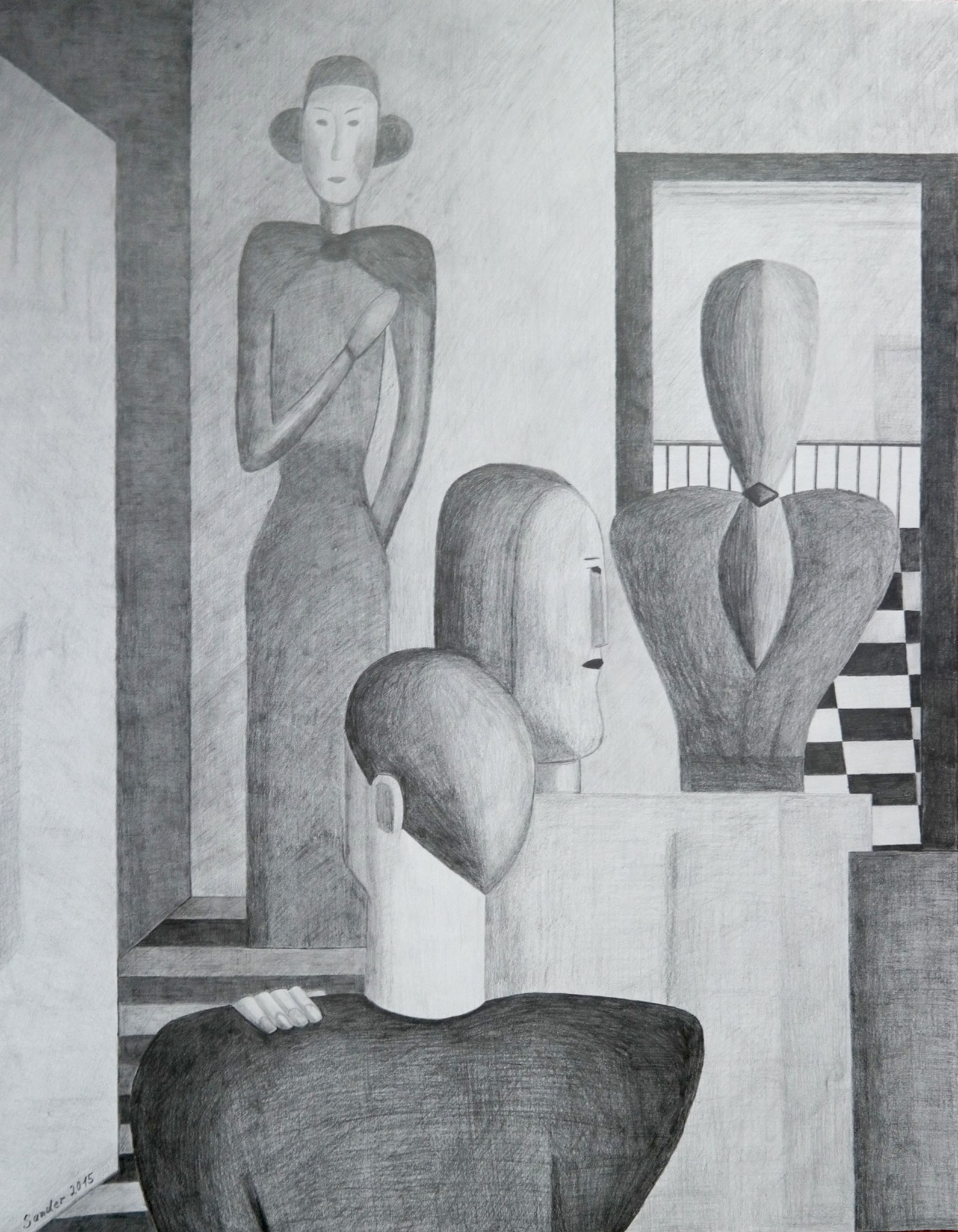 nach Schlemmer 2, 90 x 70 cm, Bleistiftzeichnung auf Papier, signiert und datiert 2015