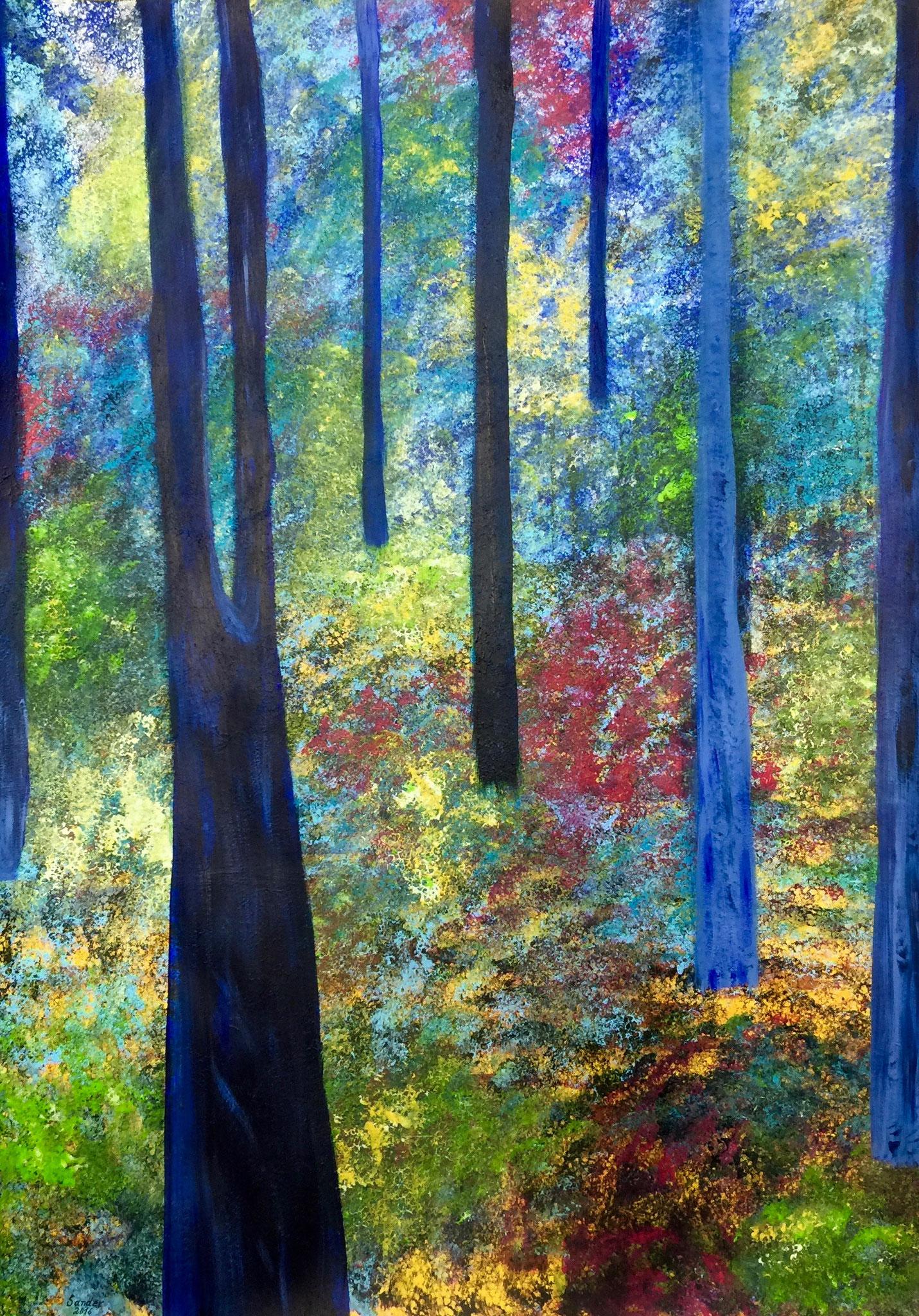 blaue Bäume,  100 x 70 cm, Acrylfarben auf Papier, signiert und datiert 2016