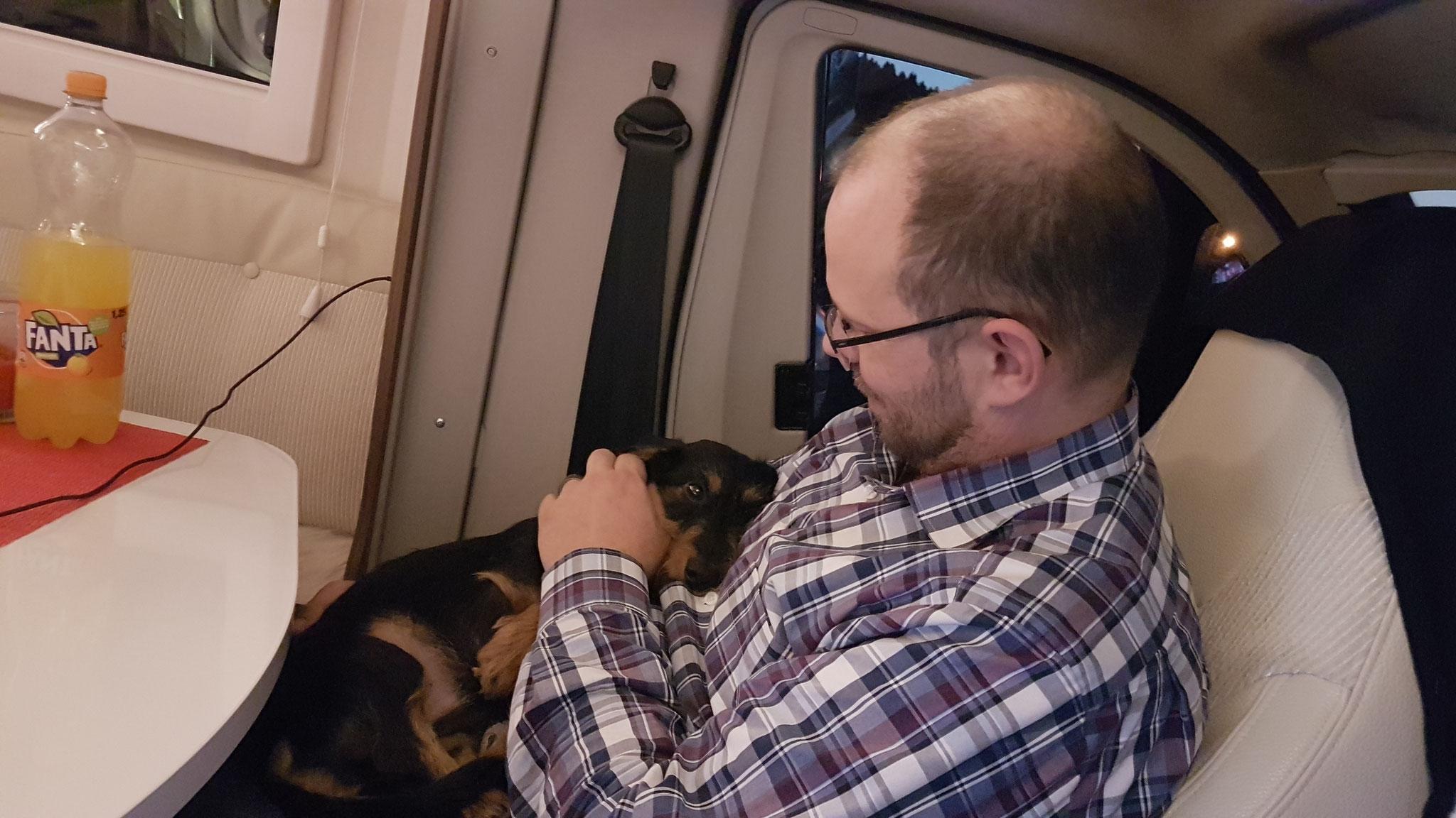 Viel erlebt - Olly ist müde und kuschelt bei Papa