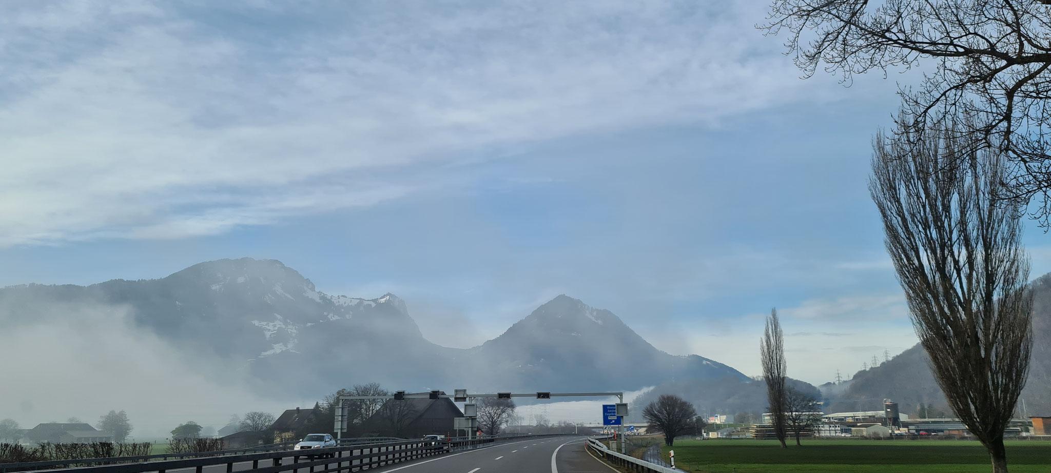 ...die ersten Nebelschwaden auf