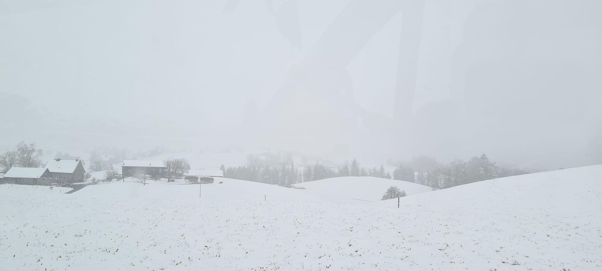 Schnee über den Hirzel...