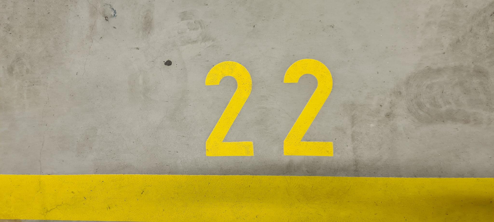 Von Parkplatz 12 zu Nr. 22 aufgestiegen
