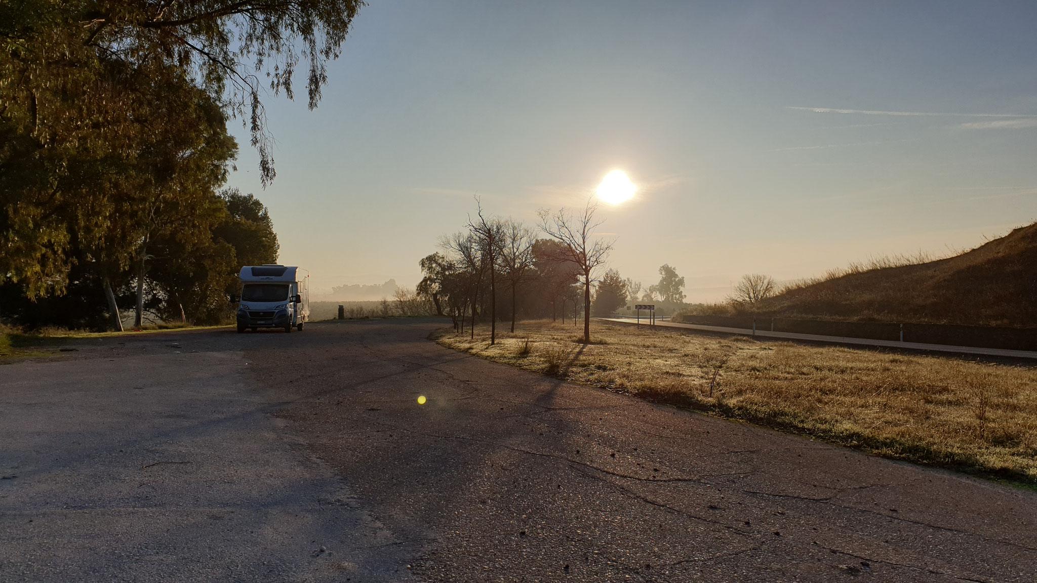 ...mit der Sonne, die sich durch den Nebel kämpft