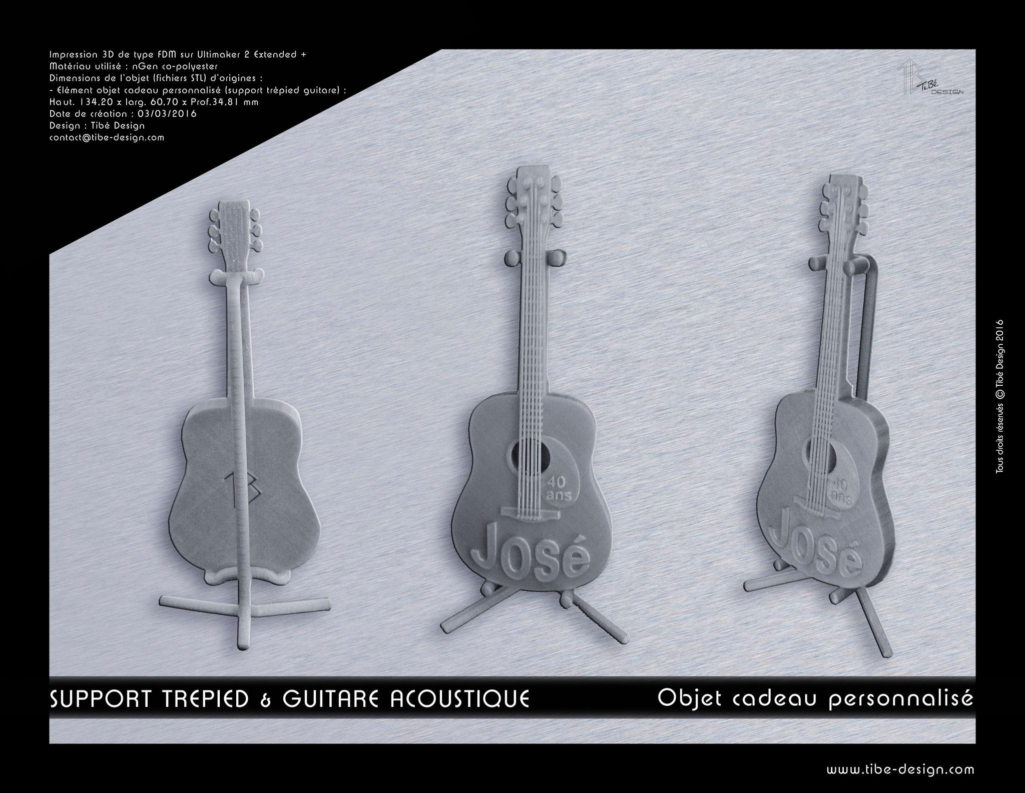 Objet cadeau spécial anniv' personnalisé print 3D Guitare acoustique