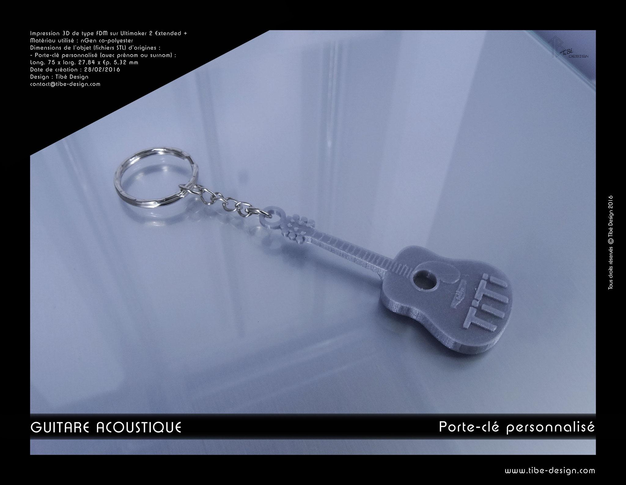 Porte-clés personnalisé print 3D Guitare acoustique
