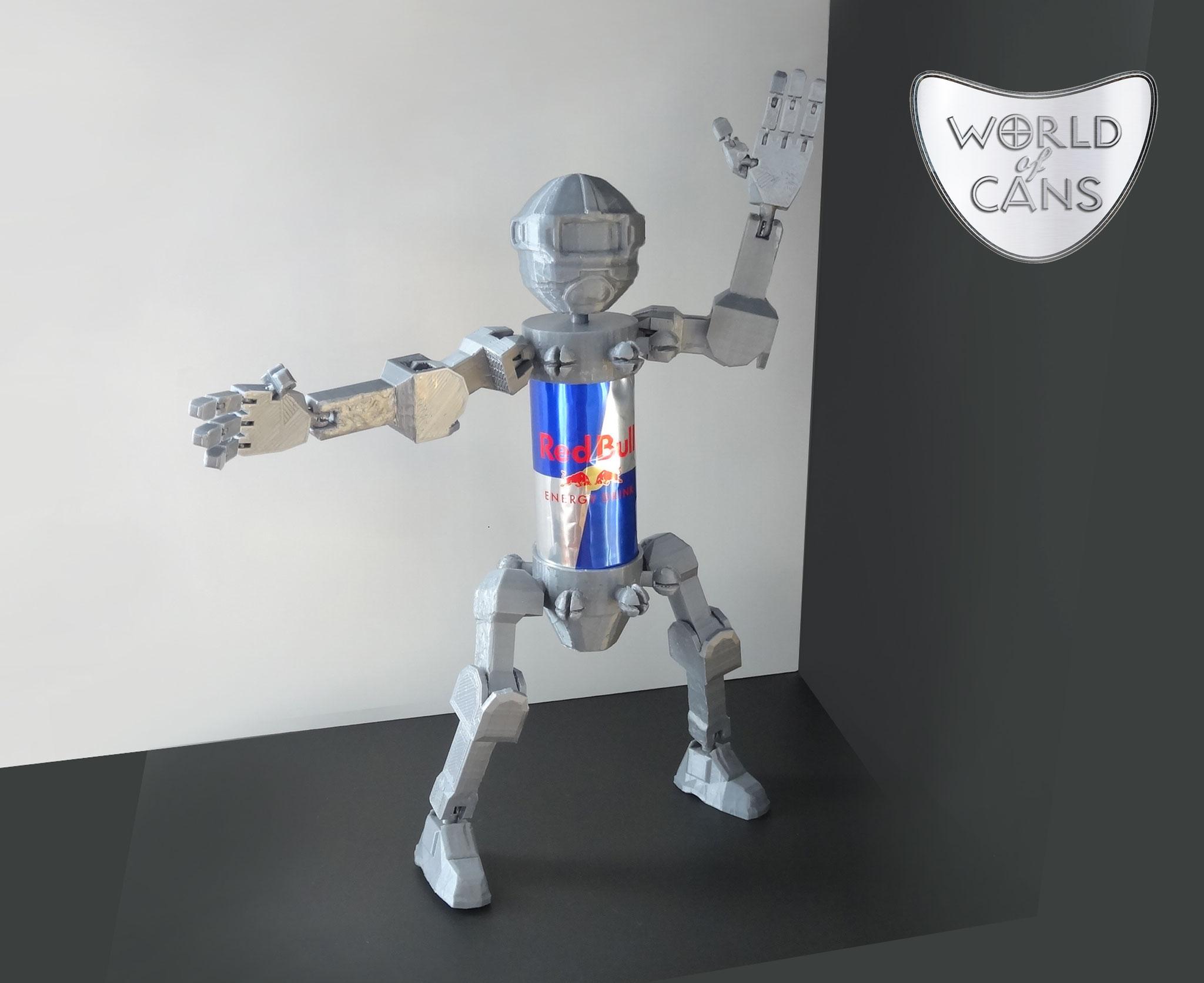 """Robot articulé avec réutilisation d'une canette pour le corps. Univers """"World of Cans"""""""