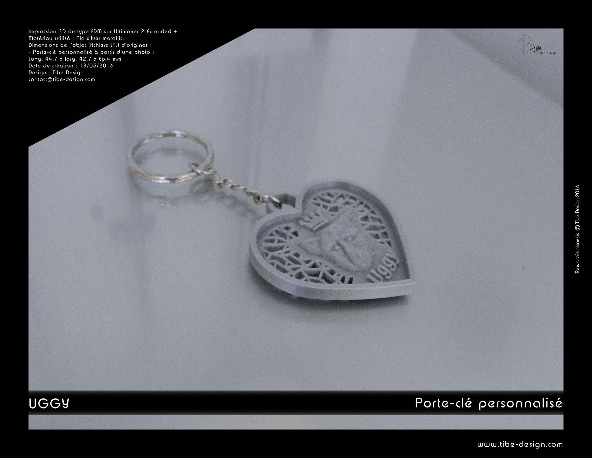 Porte-clés personnalisé print 3D Uggy