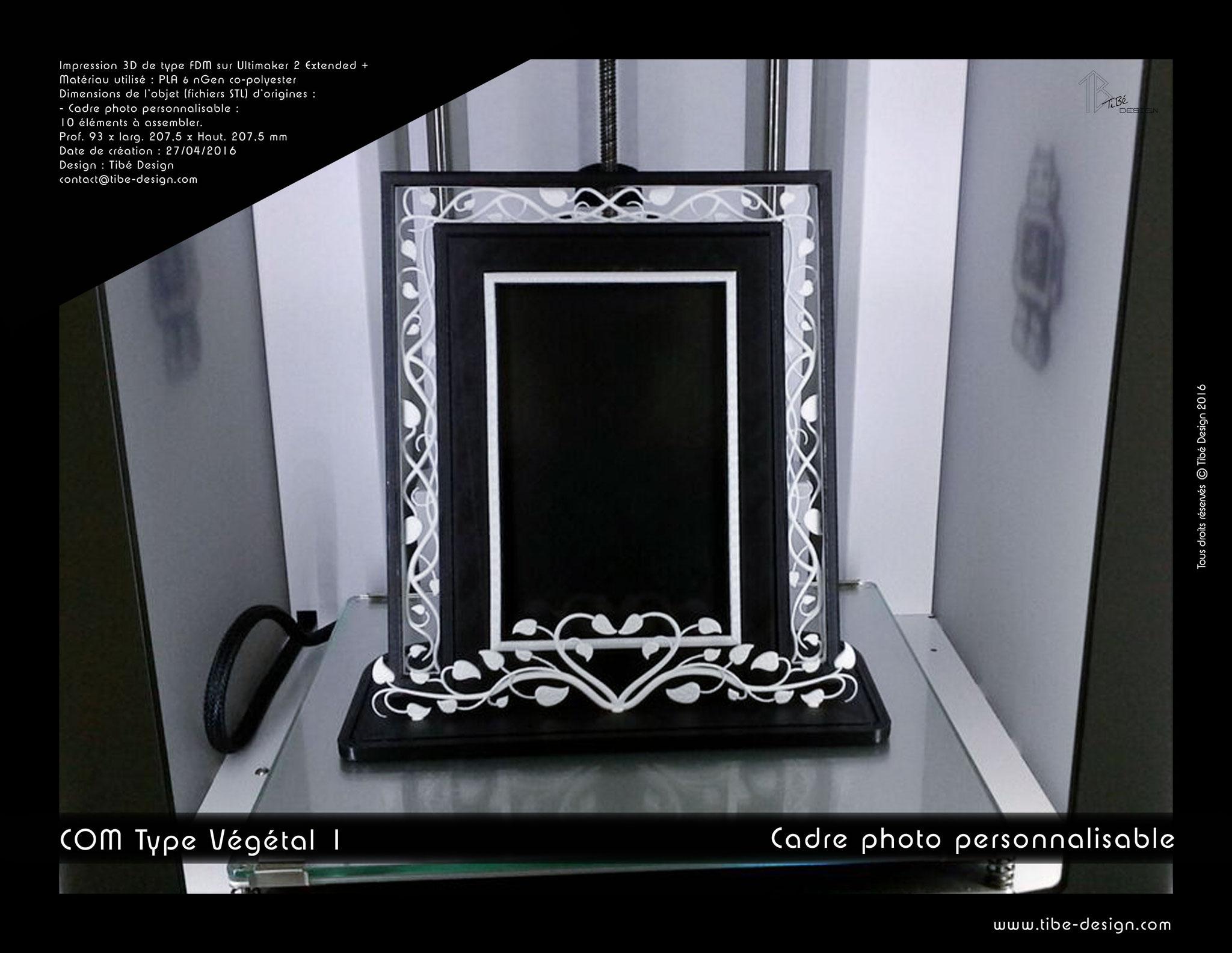 Cadre photo personnalisable print 3D design COM type Végétal