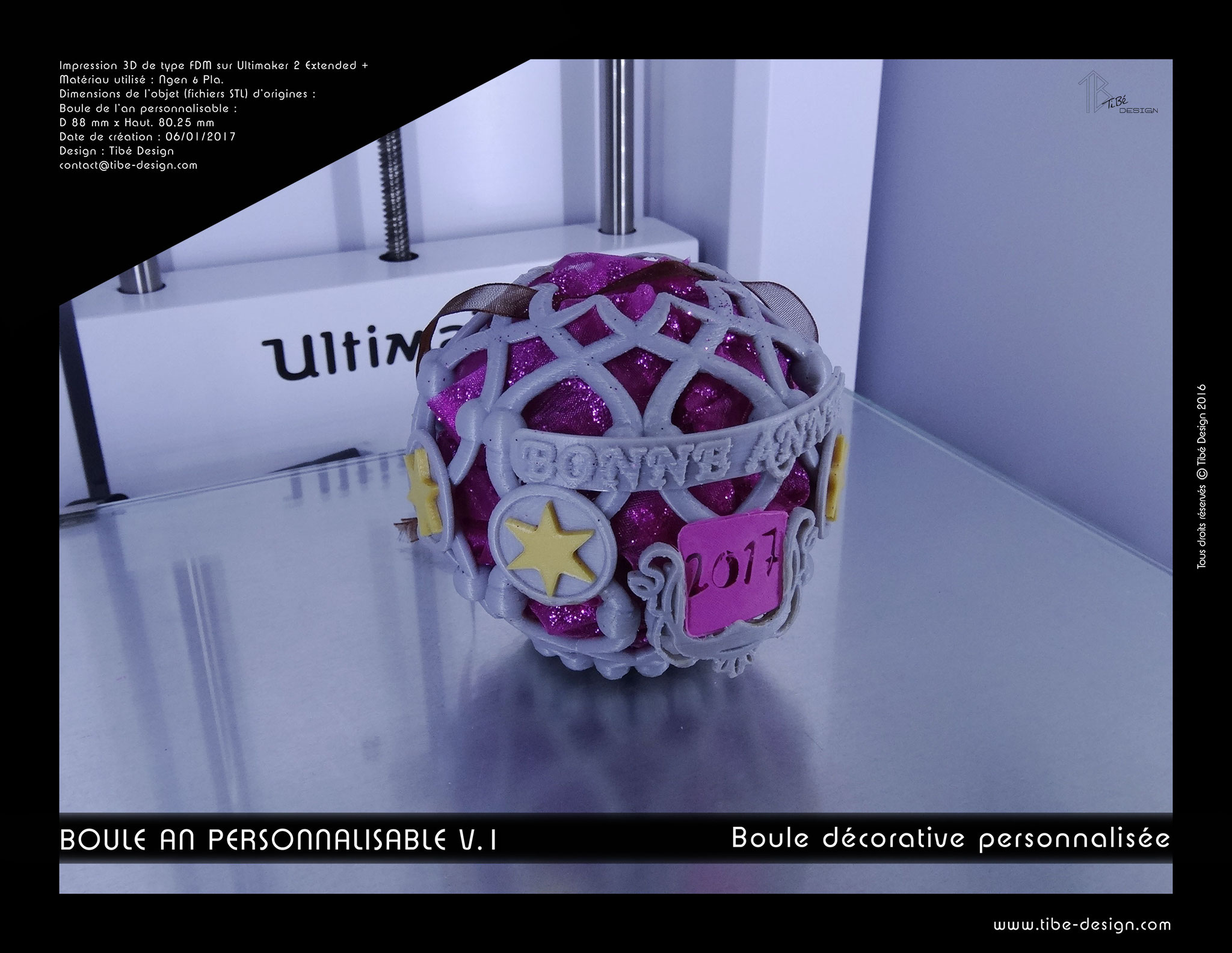 Boule décorative Nouvel An personnalisable V.1