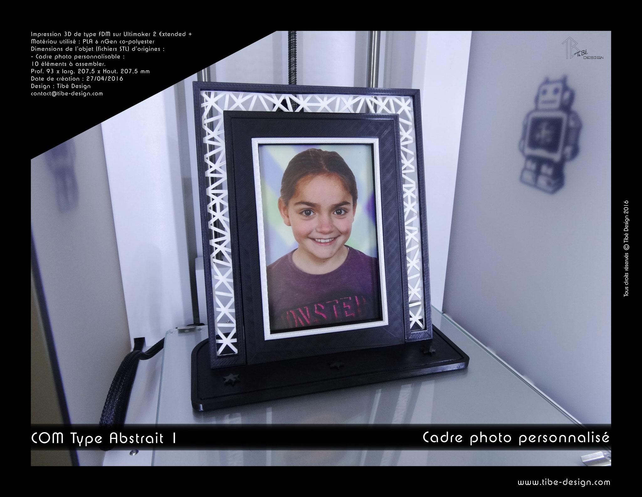 Cadre photo personnalisable print 3D design COM type Abstrait