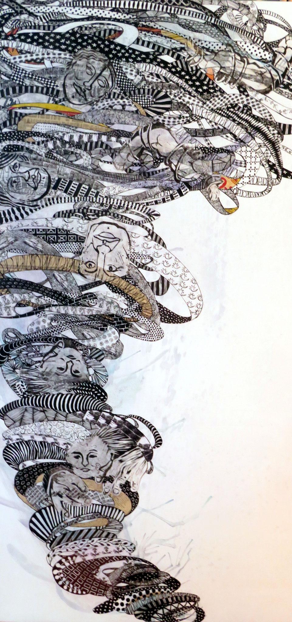 ENCHEVÊTREMENT TEMPORAIRE, encre de chine et technique mixte, 48'' X 24'', 1200,00$