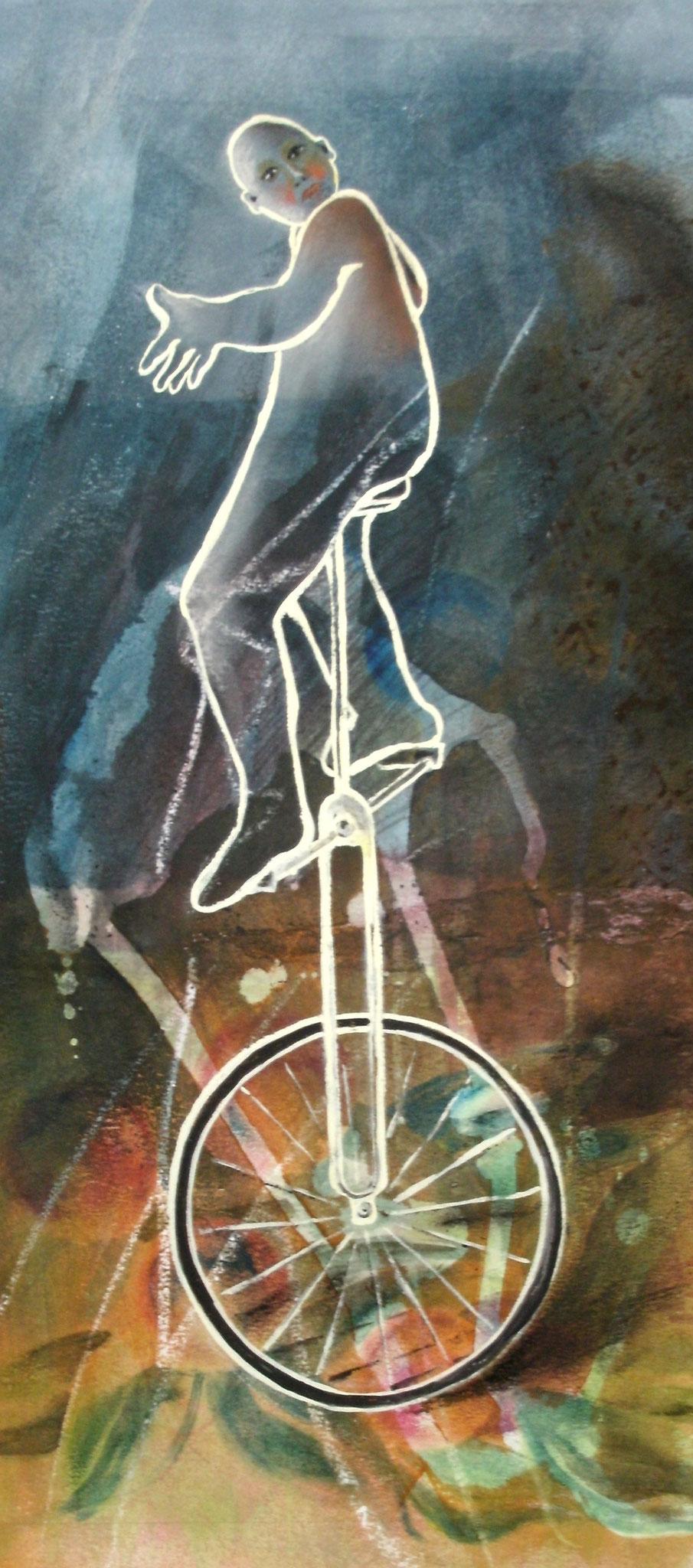ROULE LA ROUE, aquarelle sur papier