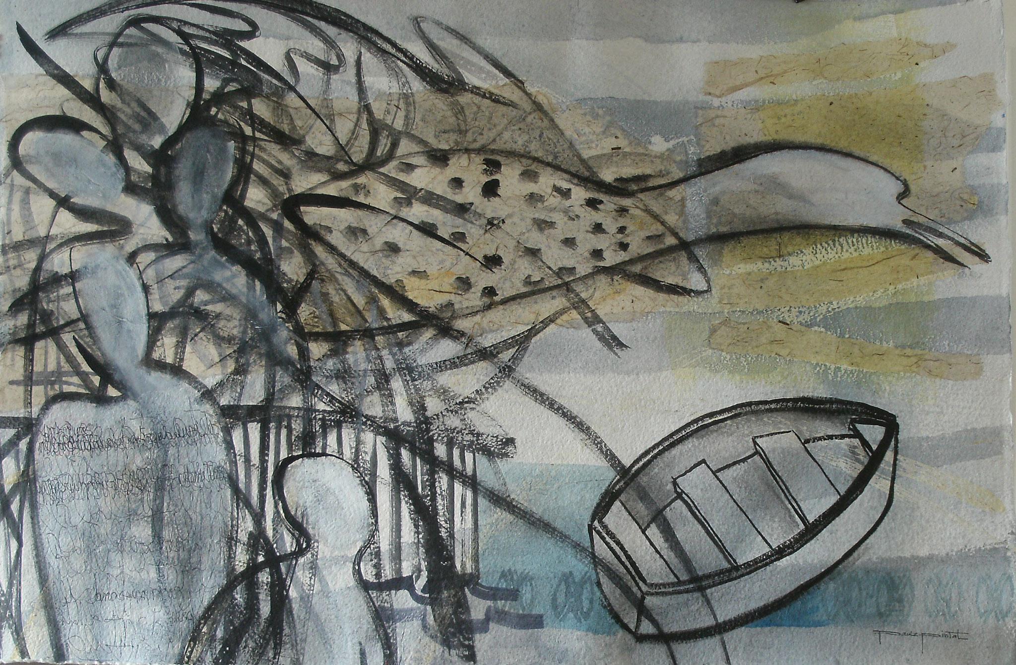 A TANT DE BRUIT L'OISEAU S'ENFUIT, aquarelle et technique mixte, 30'' X 22'', 400,00$