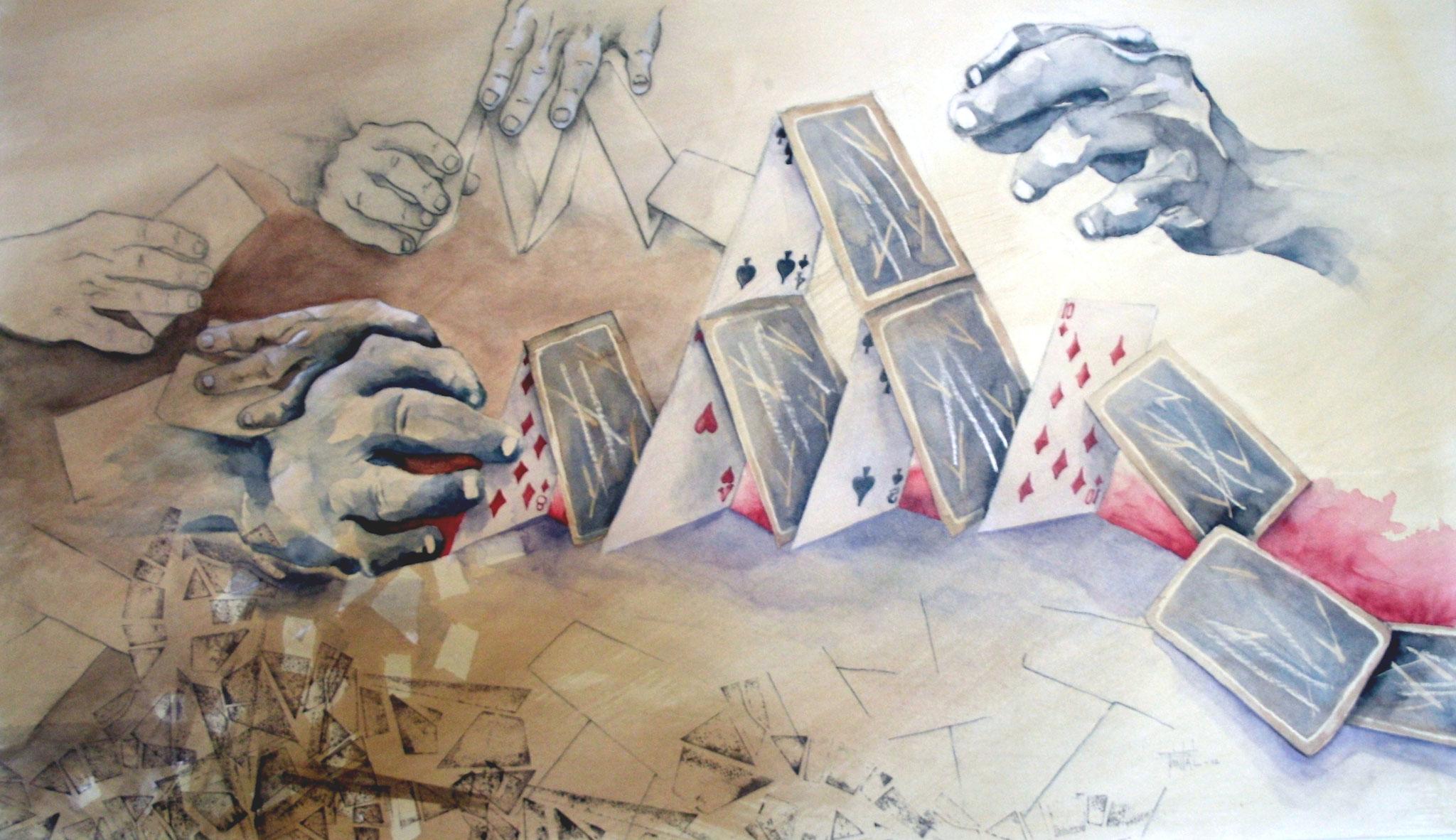 LA MESURE DE NOS PLANS 1, aquarelle, papier marouflé sur bois