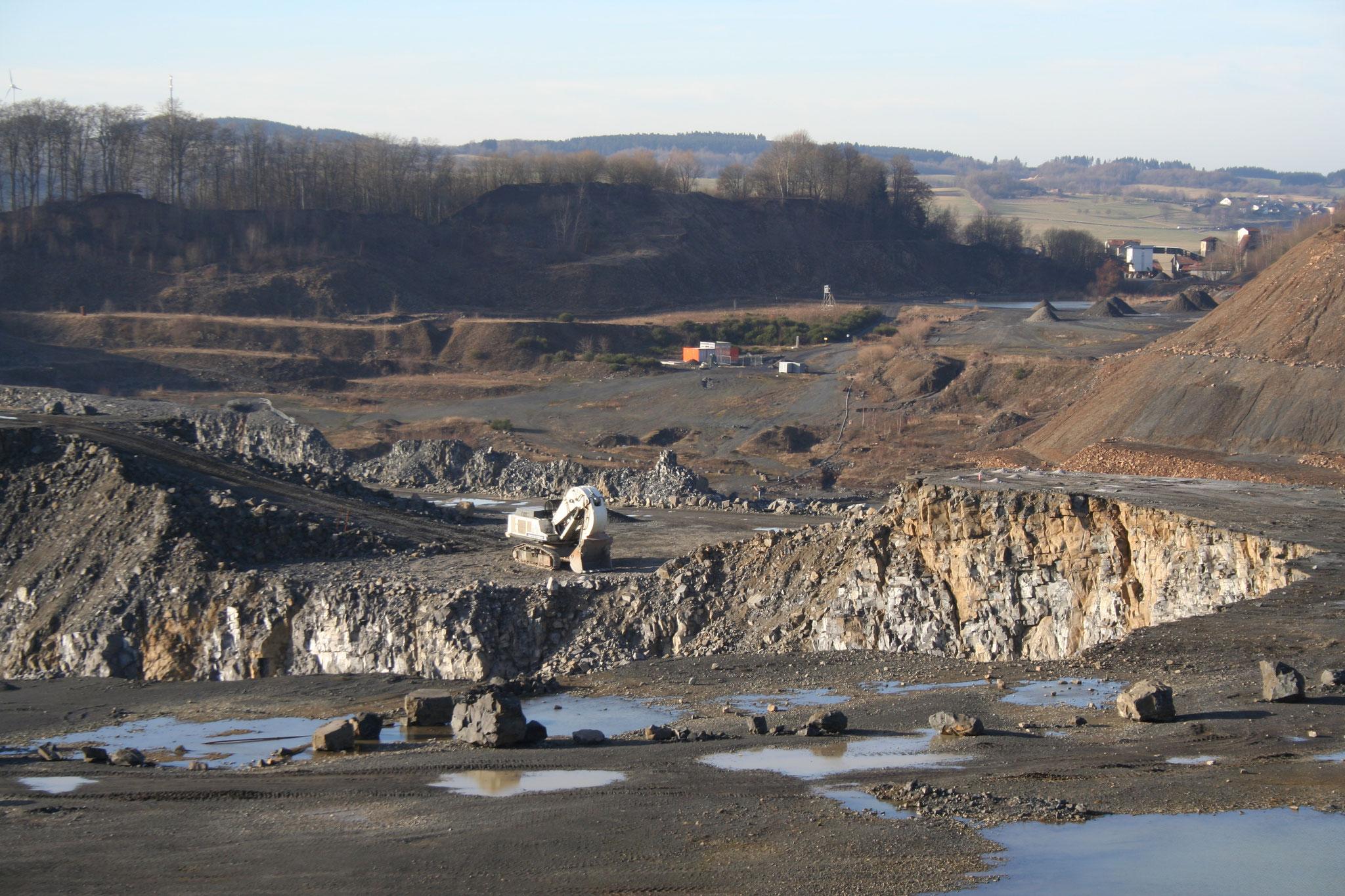 Steinbruch Stockum mit Fossilien Grabungsstelle im Hintergrund