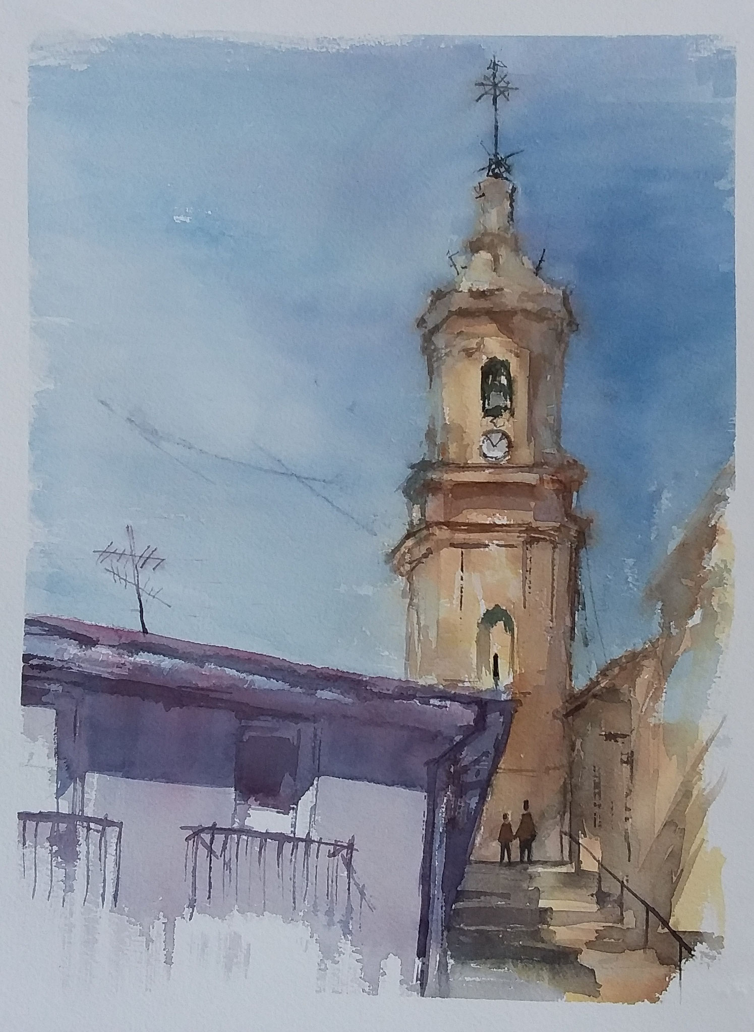 """"""" Camino a la iglesia. Aguaviva"""" 30 x 40"""