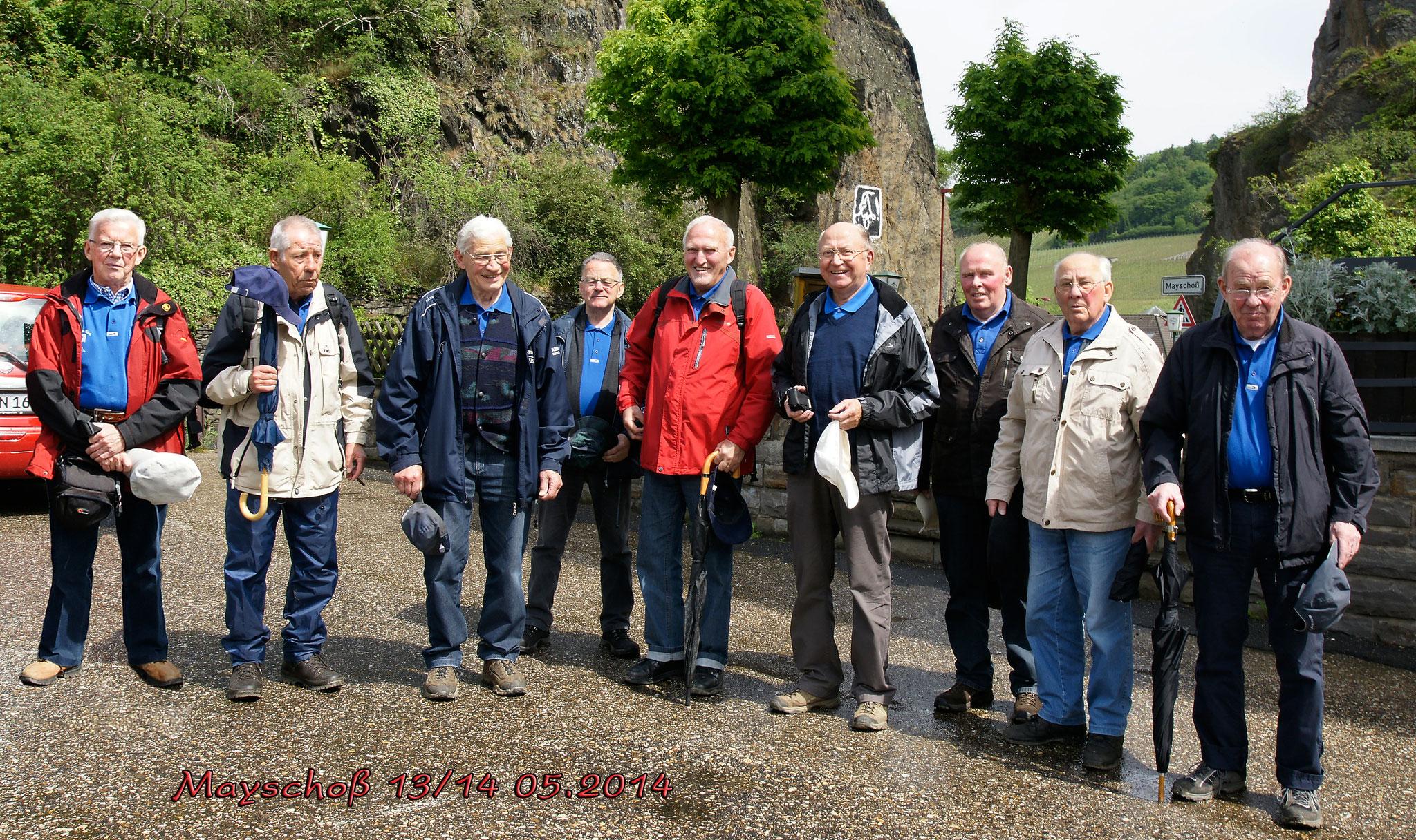 Foto von der Wanderung im Ahrtal in Mayschoß (13.05.2014) v.l. G. Wenzel, H. Engel, K-H. Schmidt, H. Wacker, D. Heuer, L. Maiworm, H. Kaufmann, K-H. Kaufmann