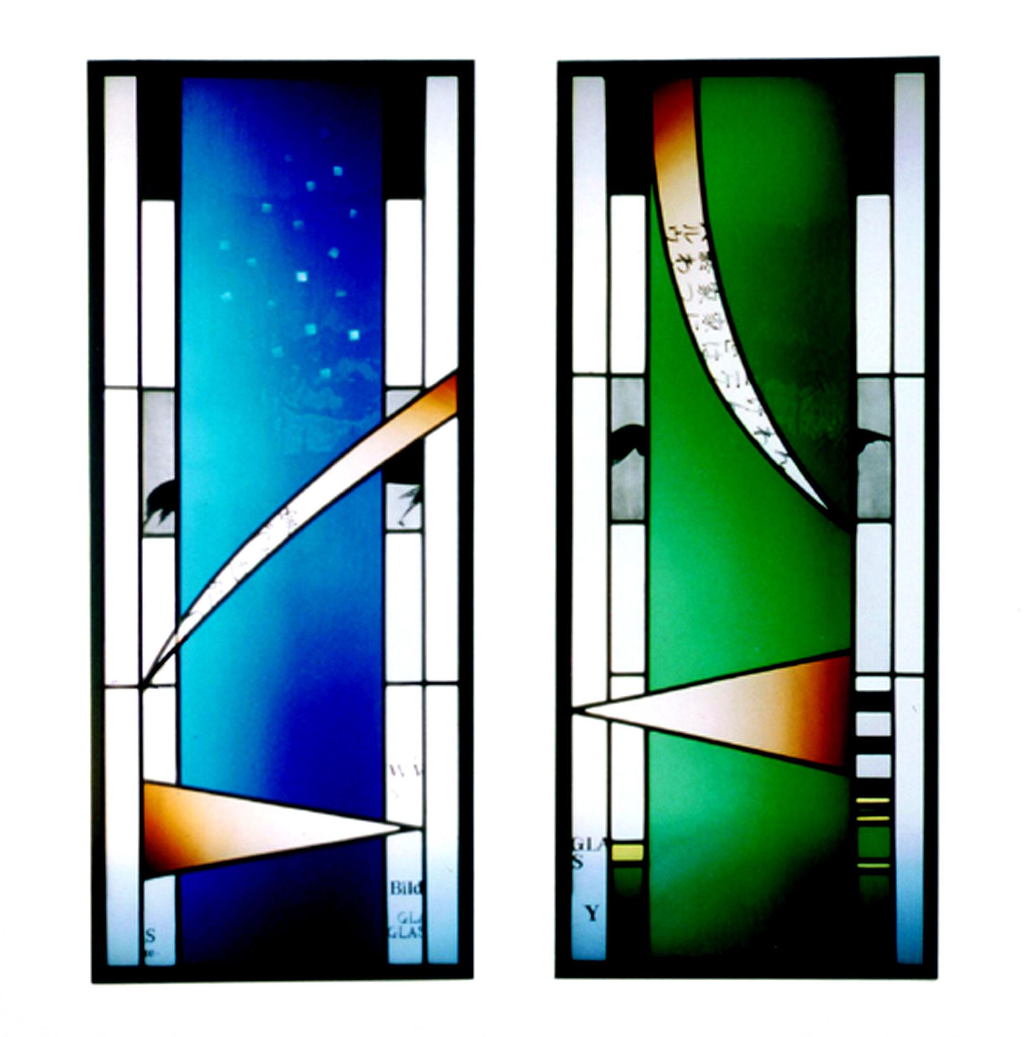 Blau und Grün 124X50cm 2001