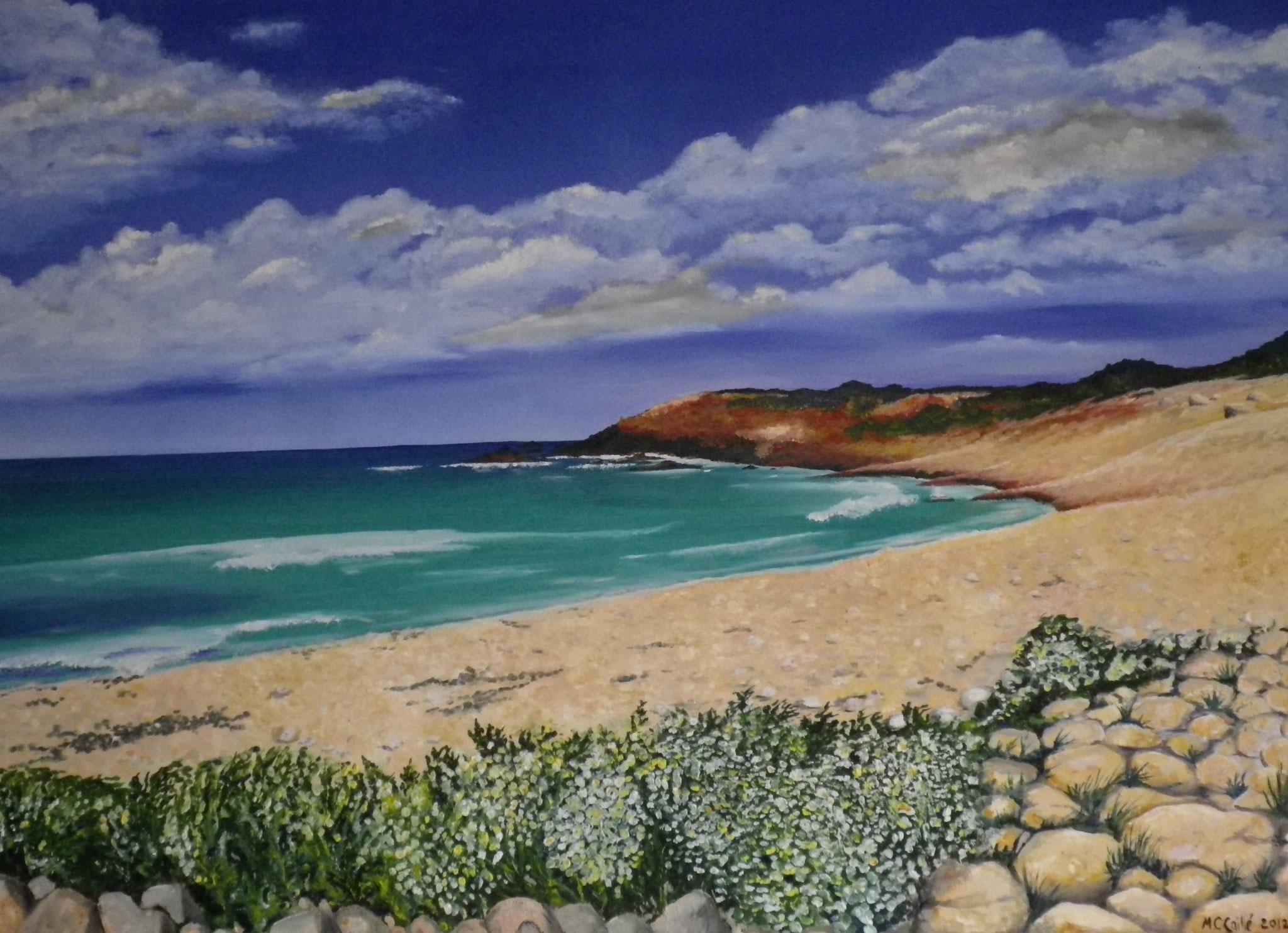 """Strand im Cotentin"" - Öl auf Leinwand /"" Plage du Cotentin"" - Huile sur toile 80 x 100 cm"