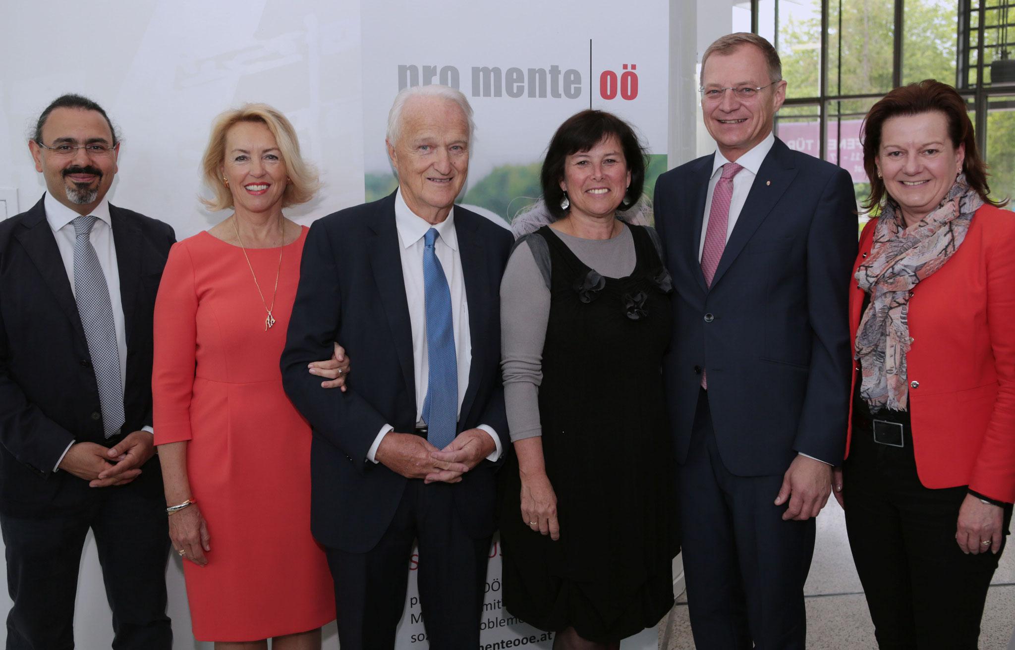 v.l.: Kurosch Yazdi, Karin und Werner Schöny, Birgit Gerstorfer, Thomas Stelzer, Karin Hörzing