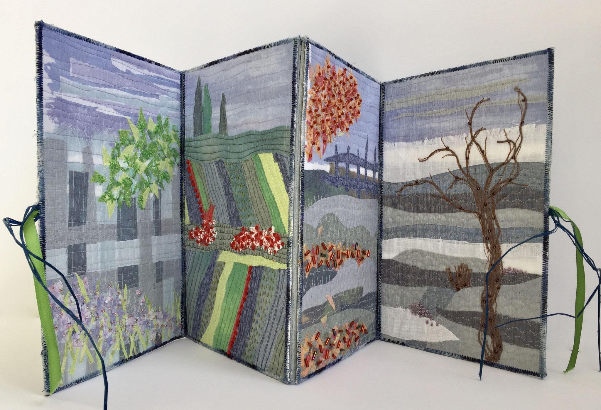 Textile Experimente Seiten, Vier Jahreszeiten, Leporello