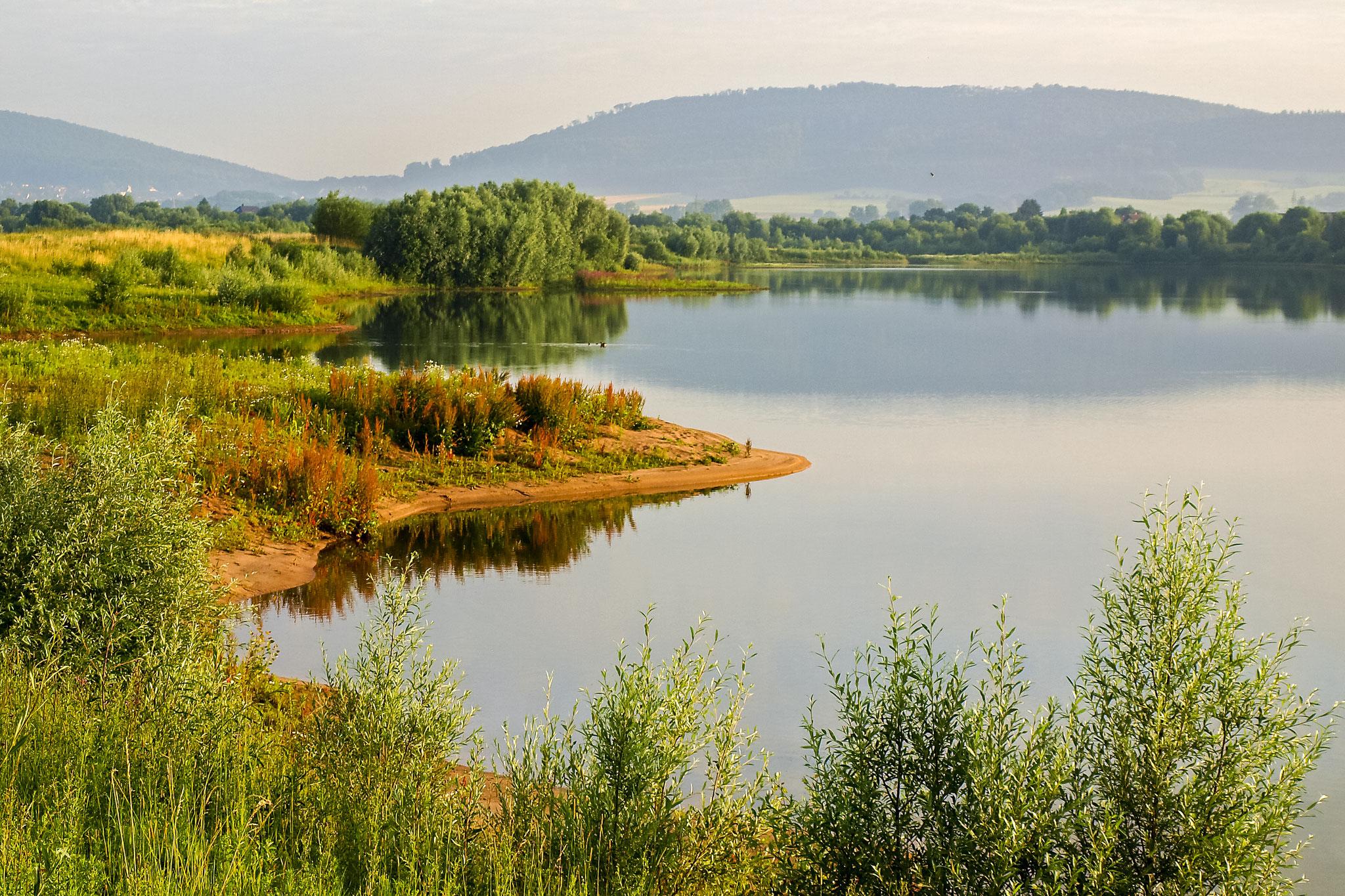 Der mittlere Teich am frühen Morgen.