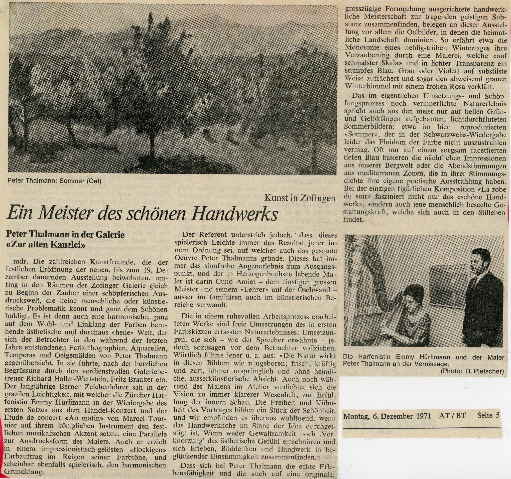 1971, Galerie zur Alten Kanzlei, Zofingen: Zeitungsbericht