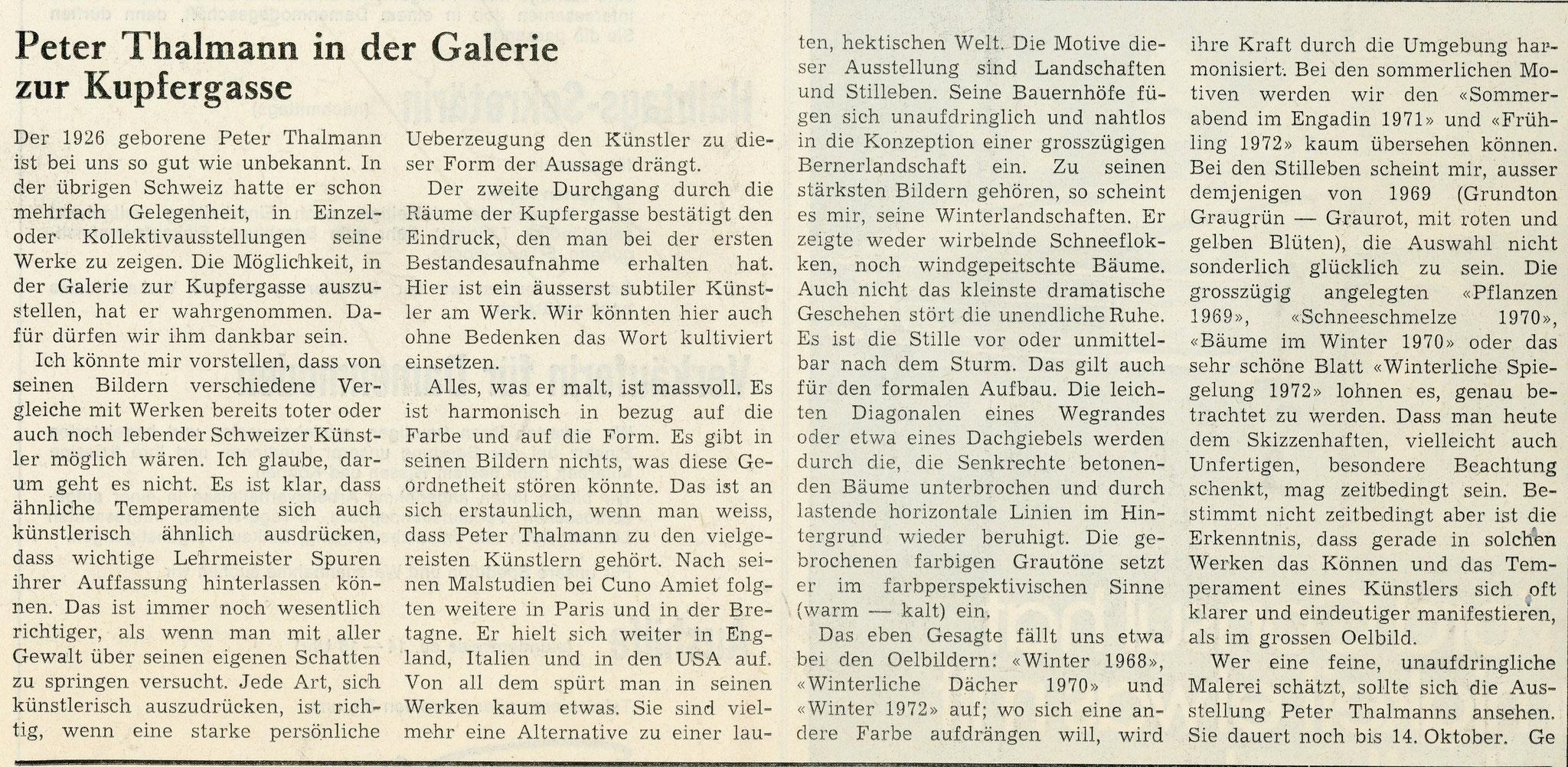1972, Galerie zur Kupfergasse: Zeitungsbericht