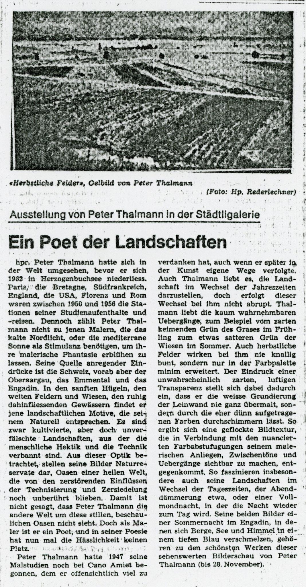 1976, Städtligalerie: Zeitungsbericht