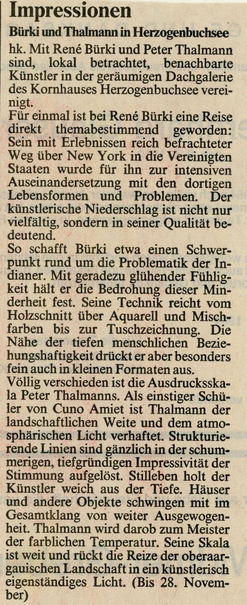 1984, Kornhaus Herzogenbuchsee: Zeitungsbericht