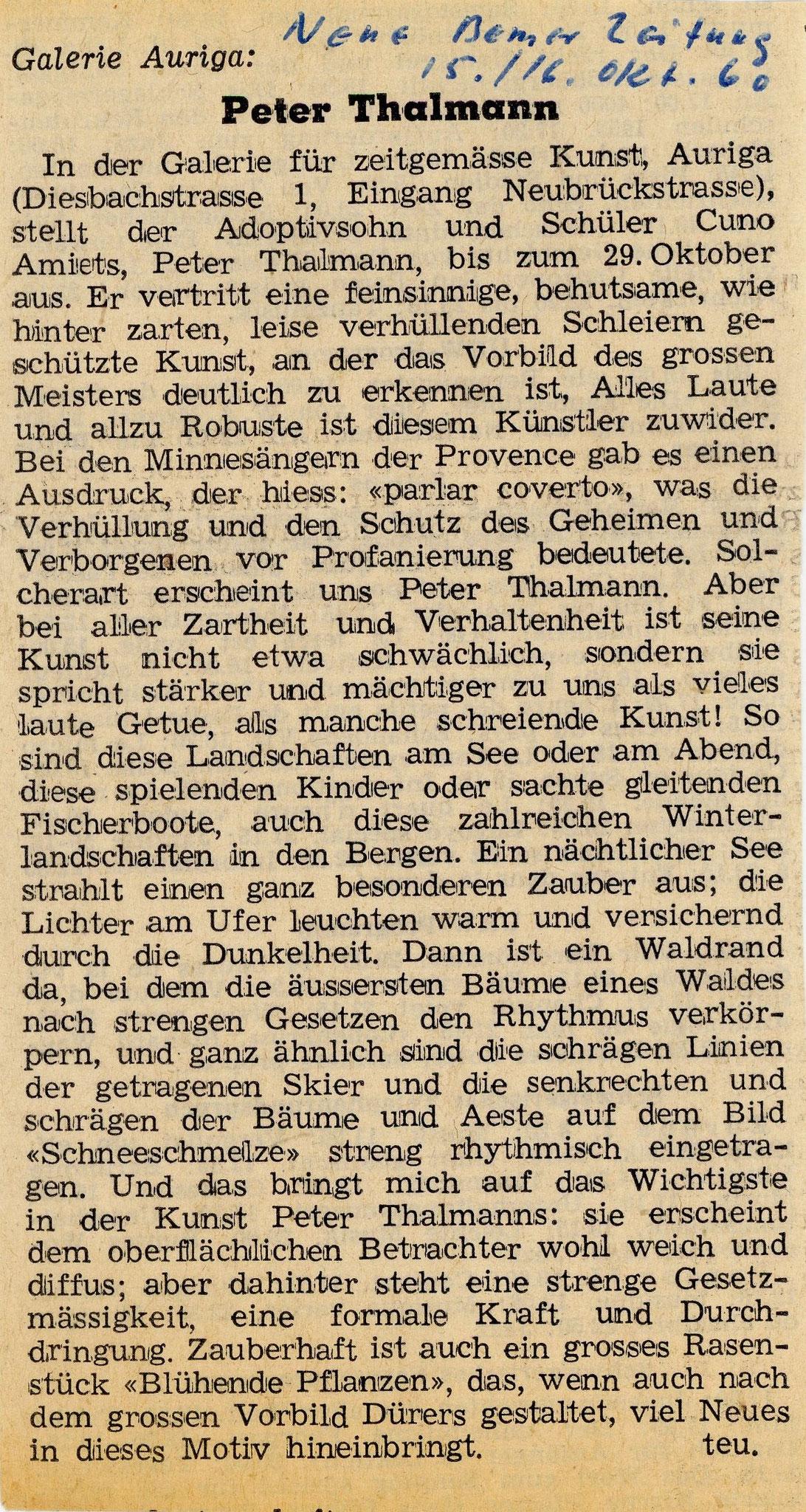 1960, Galerie Auriga: Zeitungsbericht