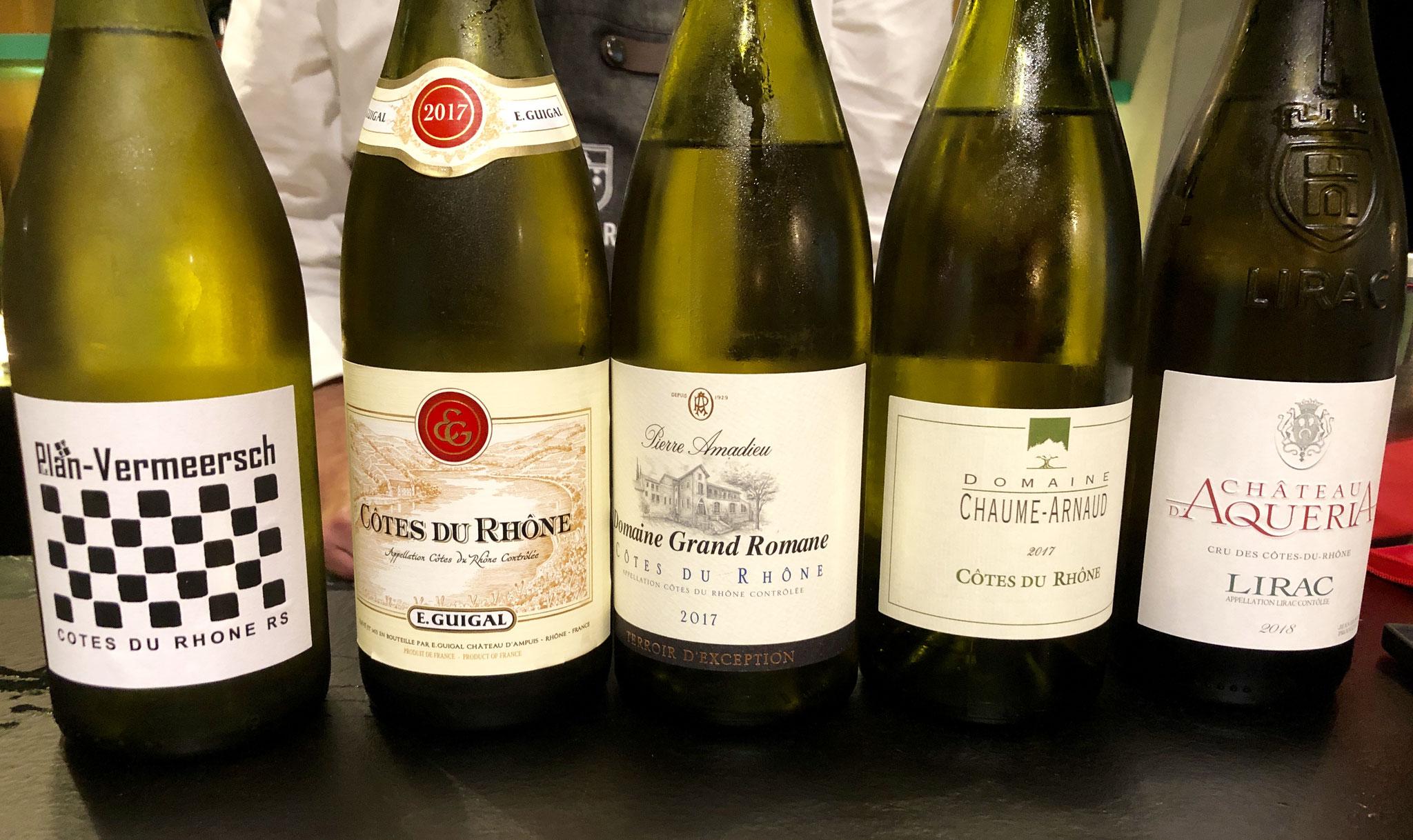 er waren 5 witte Rhône wijnen te proeven bij het eerste gerechtje