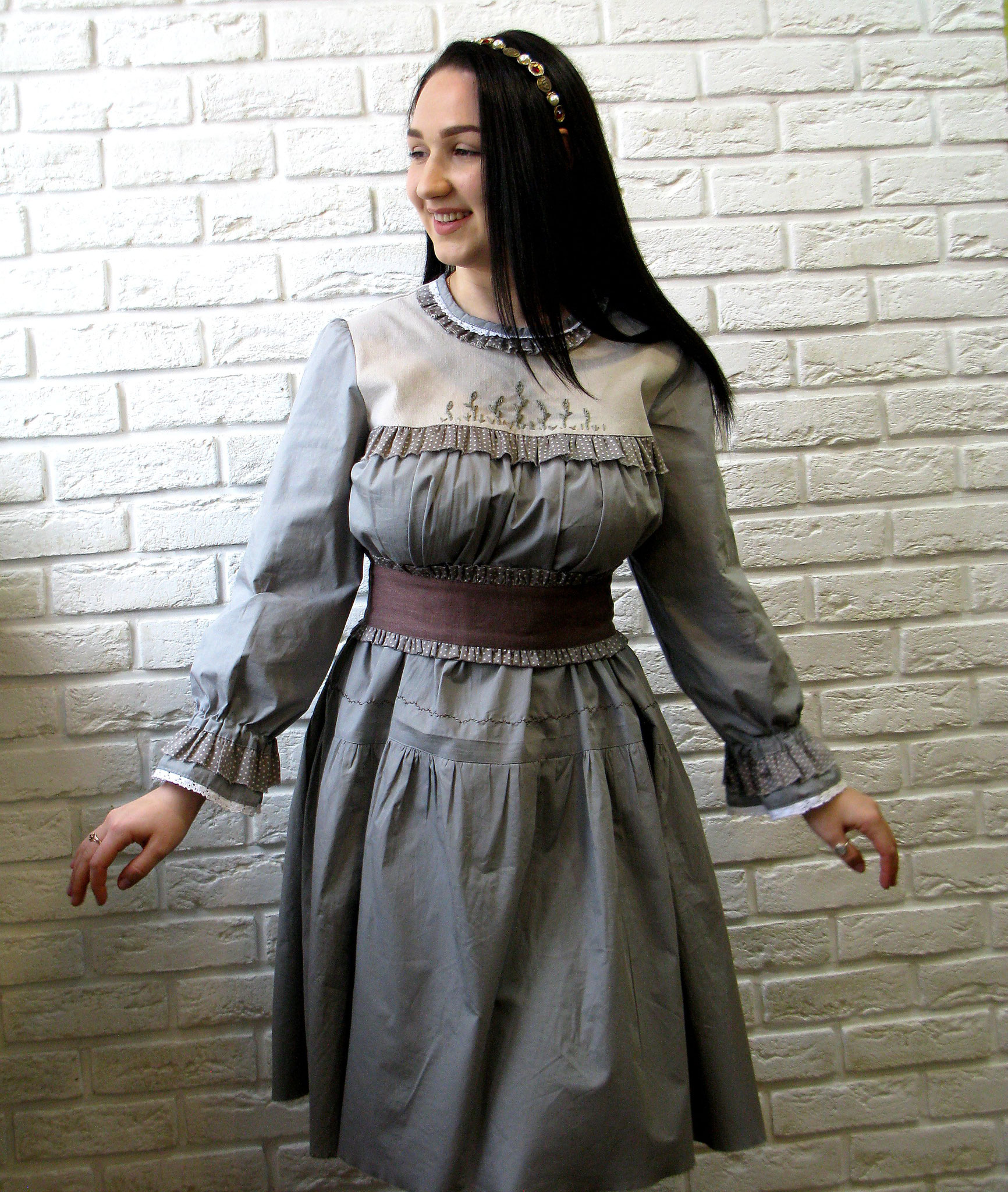 russian style dress, cotton dress boho, bohemian dress