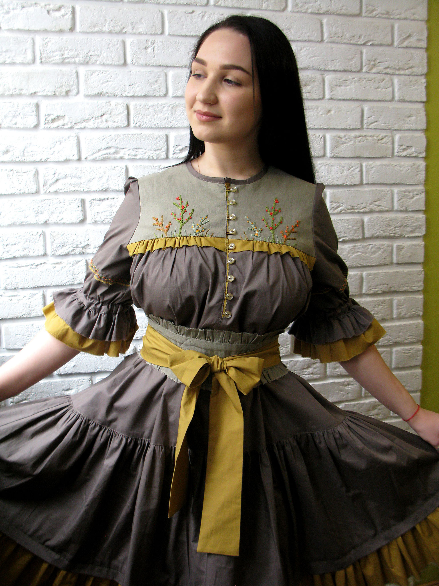 boho dress, bohemian dress cotton, russian style dress