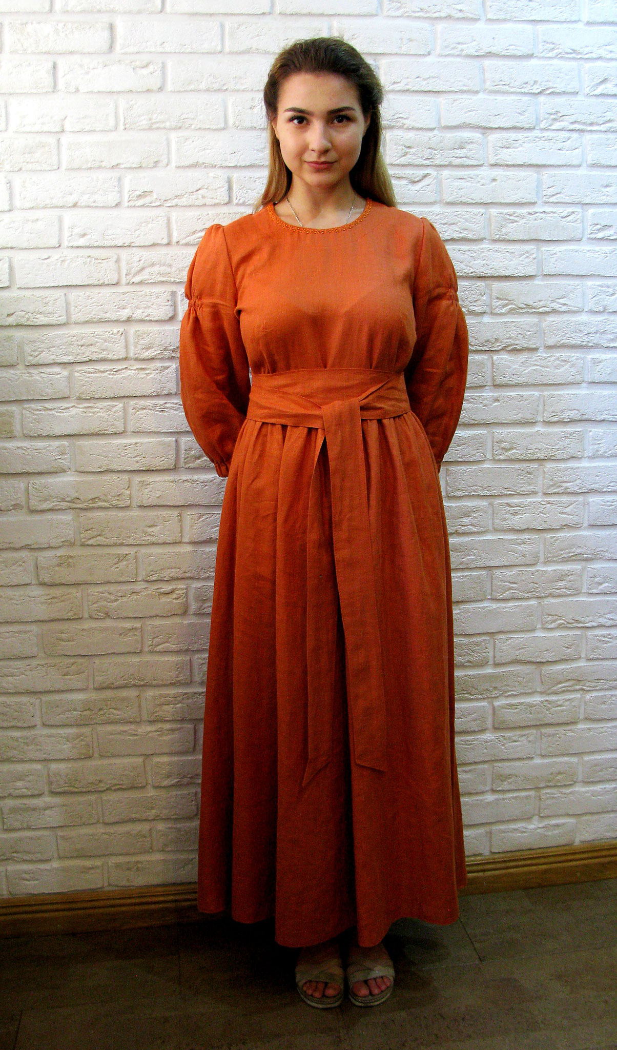 linen  maxi dress long sleeve, organic linen dress