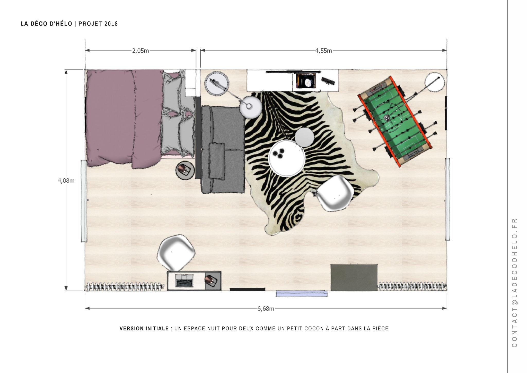 | Plan d'aménagement projeté, Projet Uriage © La Déco d'Hélo 2018.