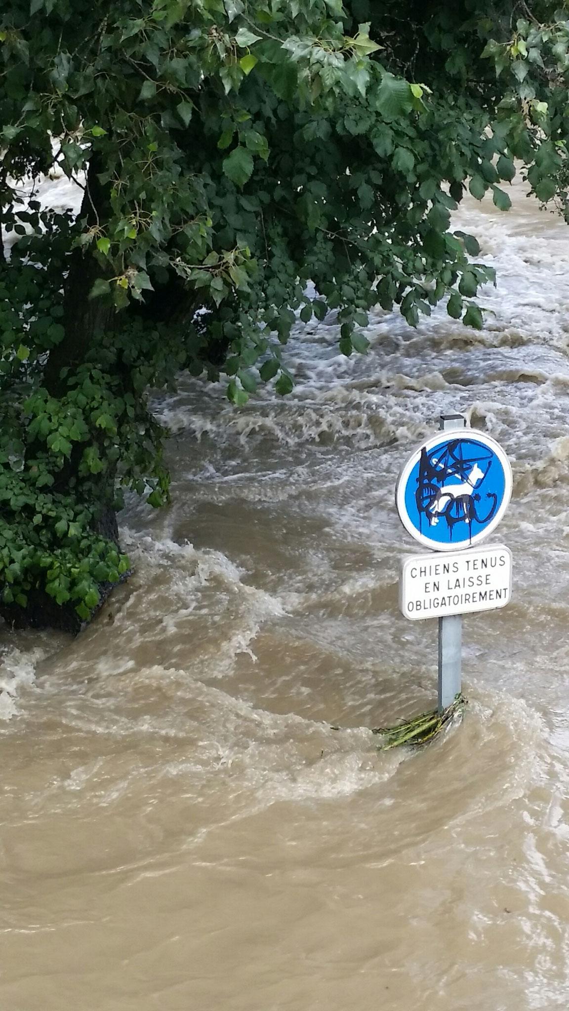 On peut estimer une hauteur d'eau supérieure à 1 mètre grâce au panneau - Photo : Fabien Lamouroux