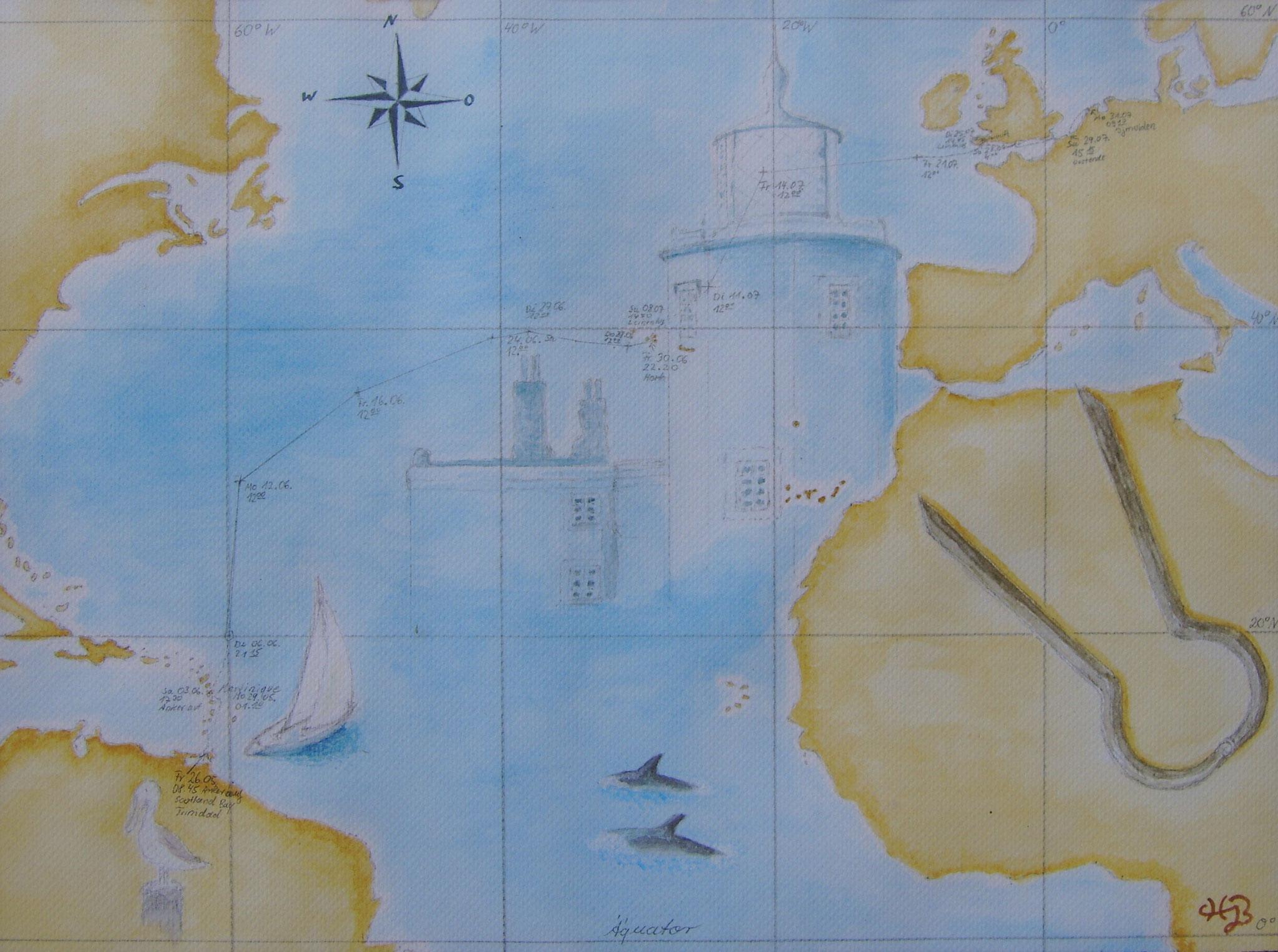 Unter Segel von Trinidat nach Ijmuiden (NL), 2006, Aquarell, 40 x 30 cm
