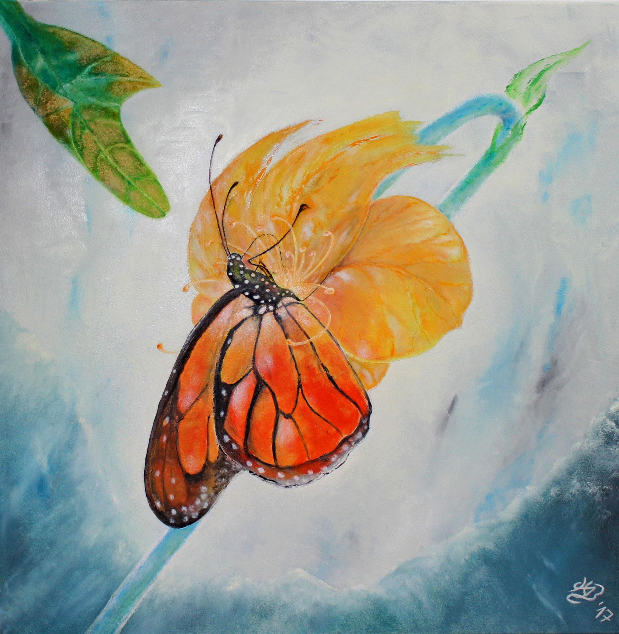 Schmetterling, 2017, Öl, 80 x 80 cm