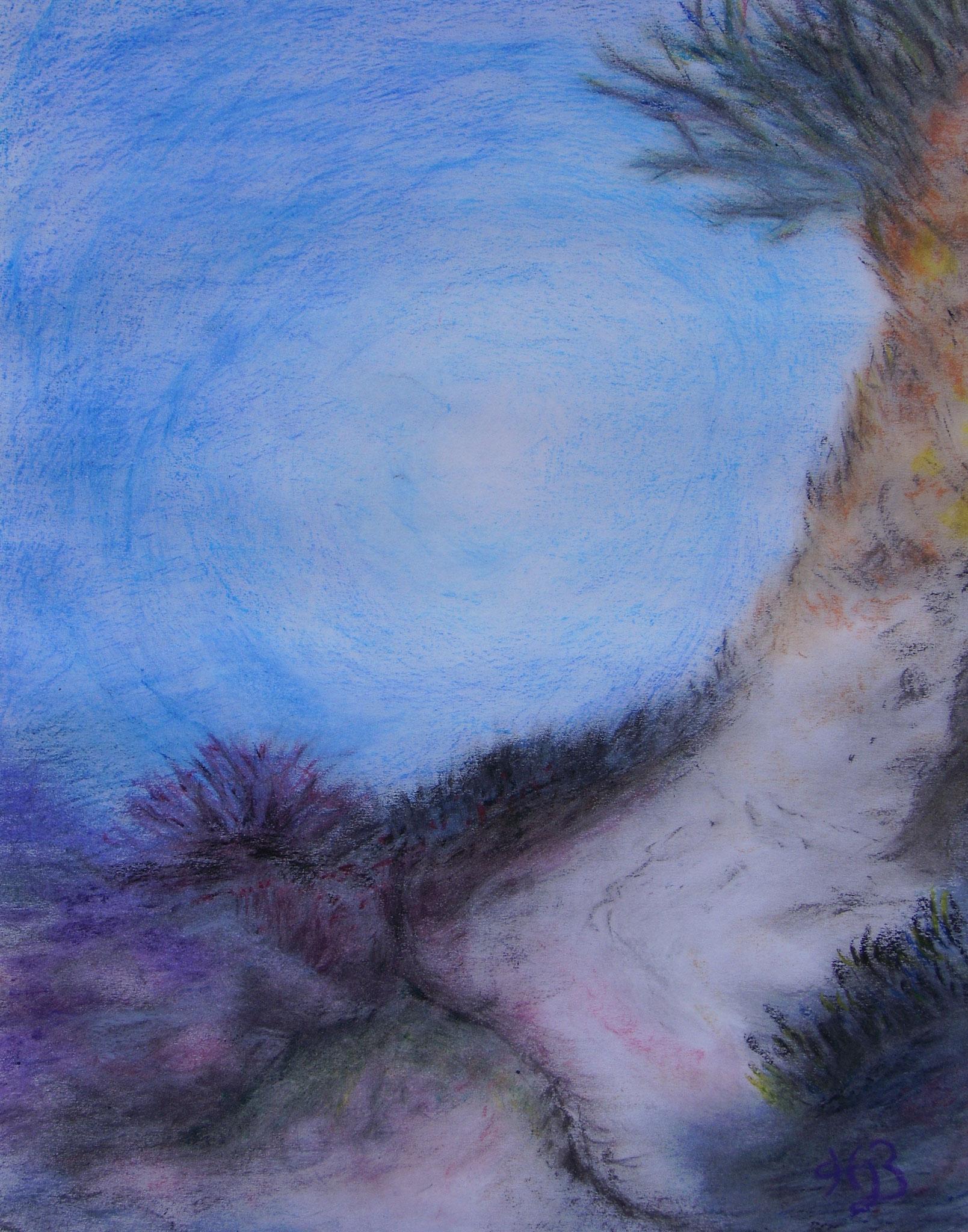 Landschaft unter Wasser, 2006, Pastellkreide, 30 x 40 cm